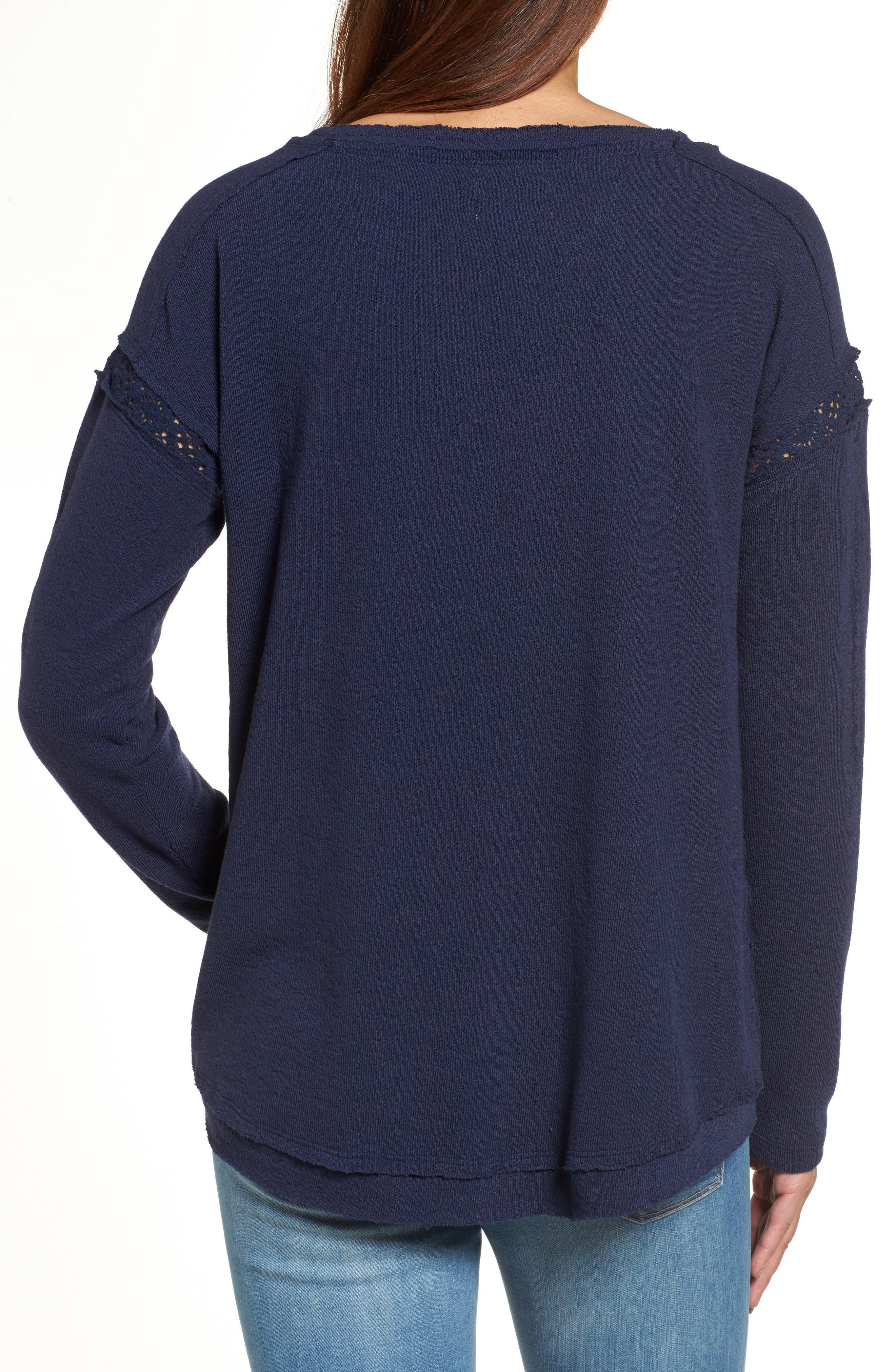 Crochet Lace Trim Sweatshirt,                             Alternate thumbnail 2, color,                             Navy Peacoat