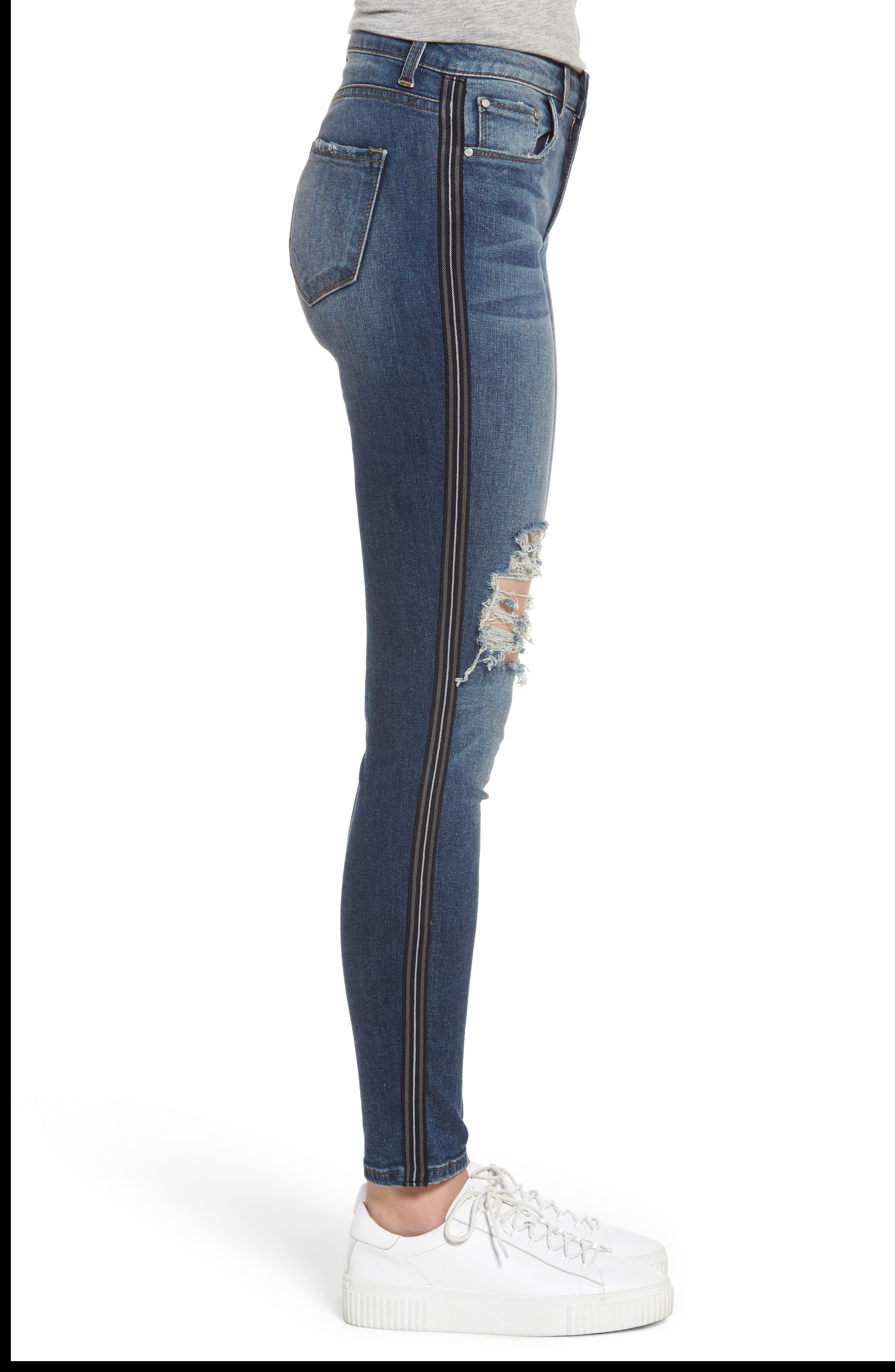 Tuxedo Stripe Ripped Skinny Jeans,                             Alternate thumbnail 3, color,                             Medium Wash