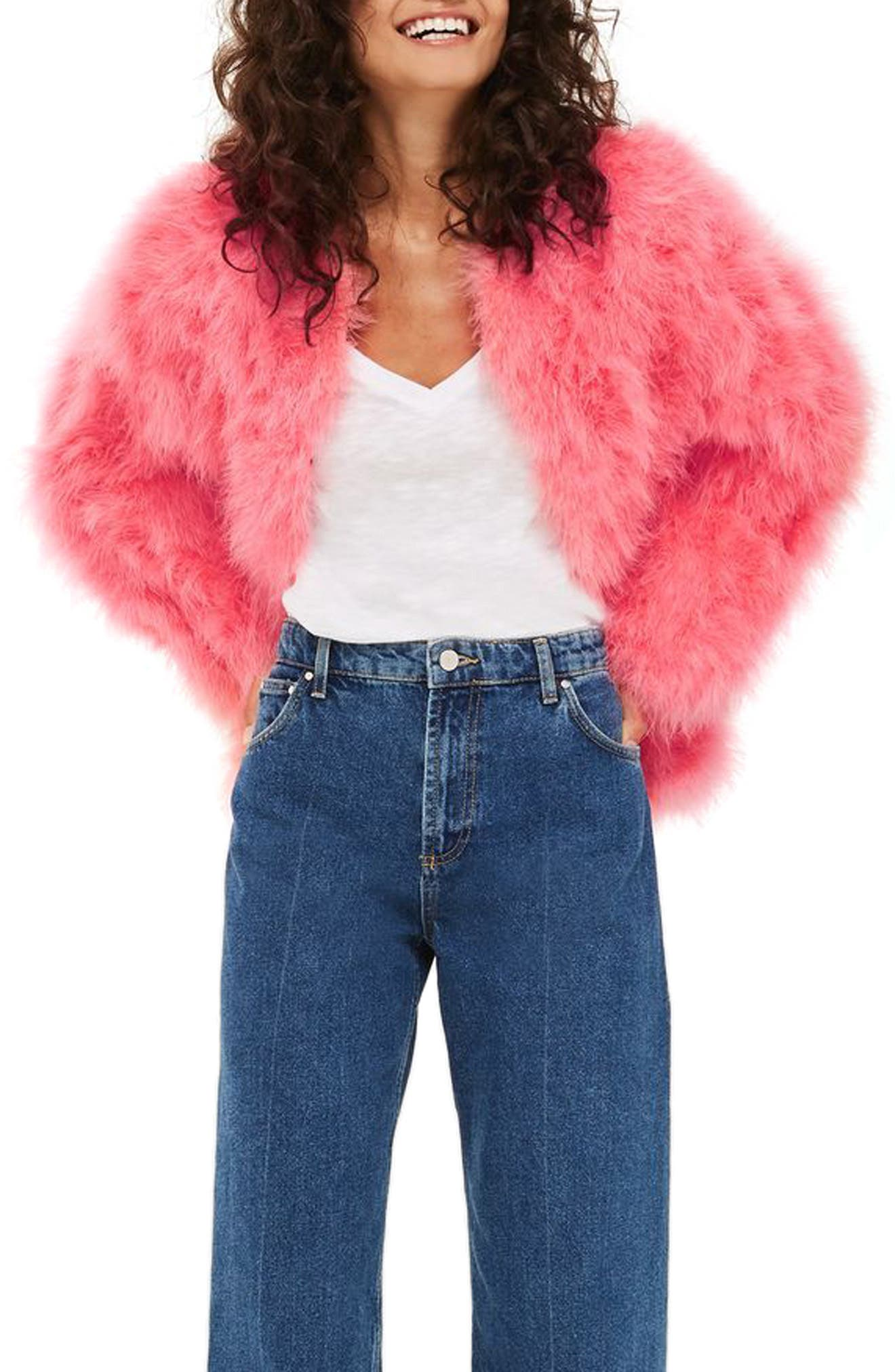 Marabou Feather Jacket,                             Main thumbnail 1, color,                             Pink