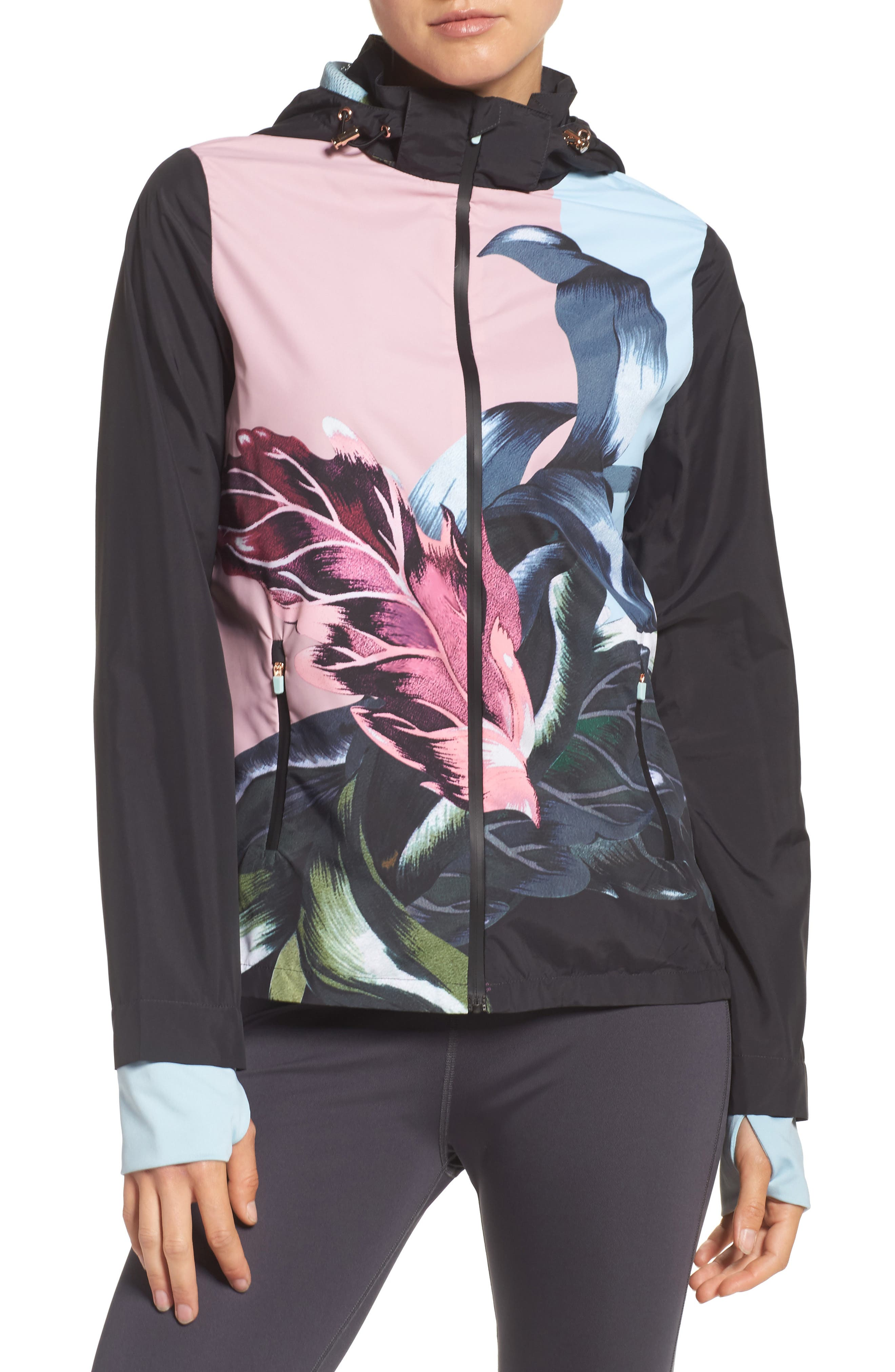 Eden Floral Print Jacket,                             Main thumbnail 1, color,                             Black