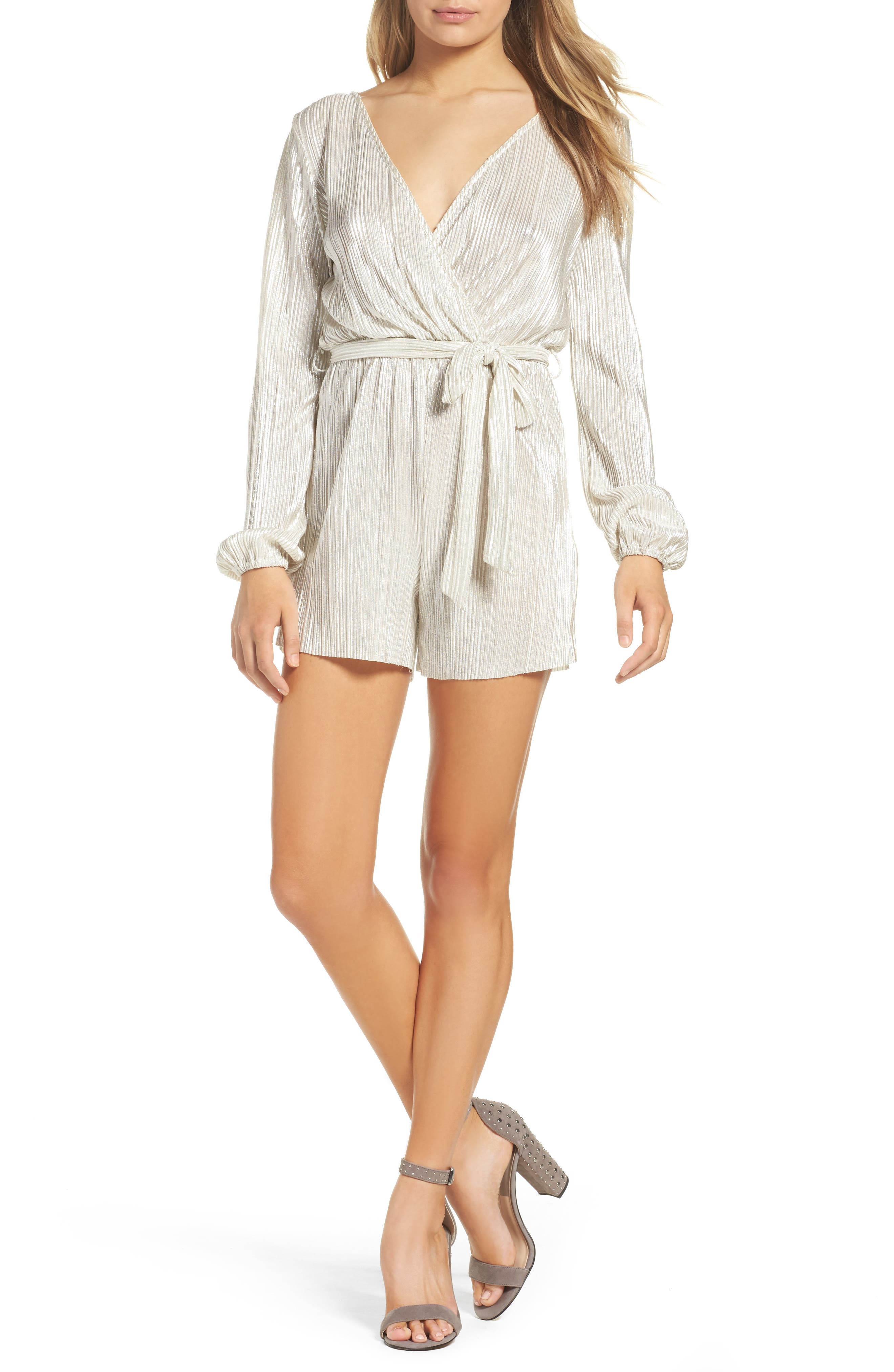 Ziggy Pleated Romper,                             Main thumbnail 1, color,                             Silver