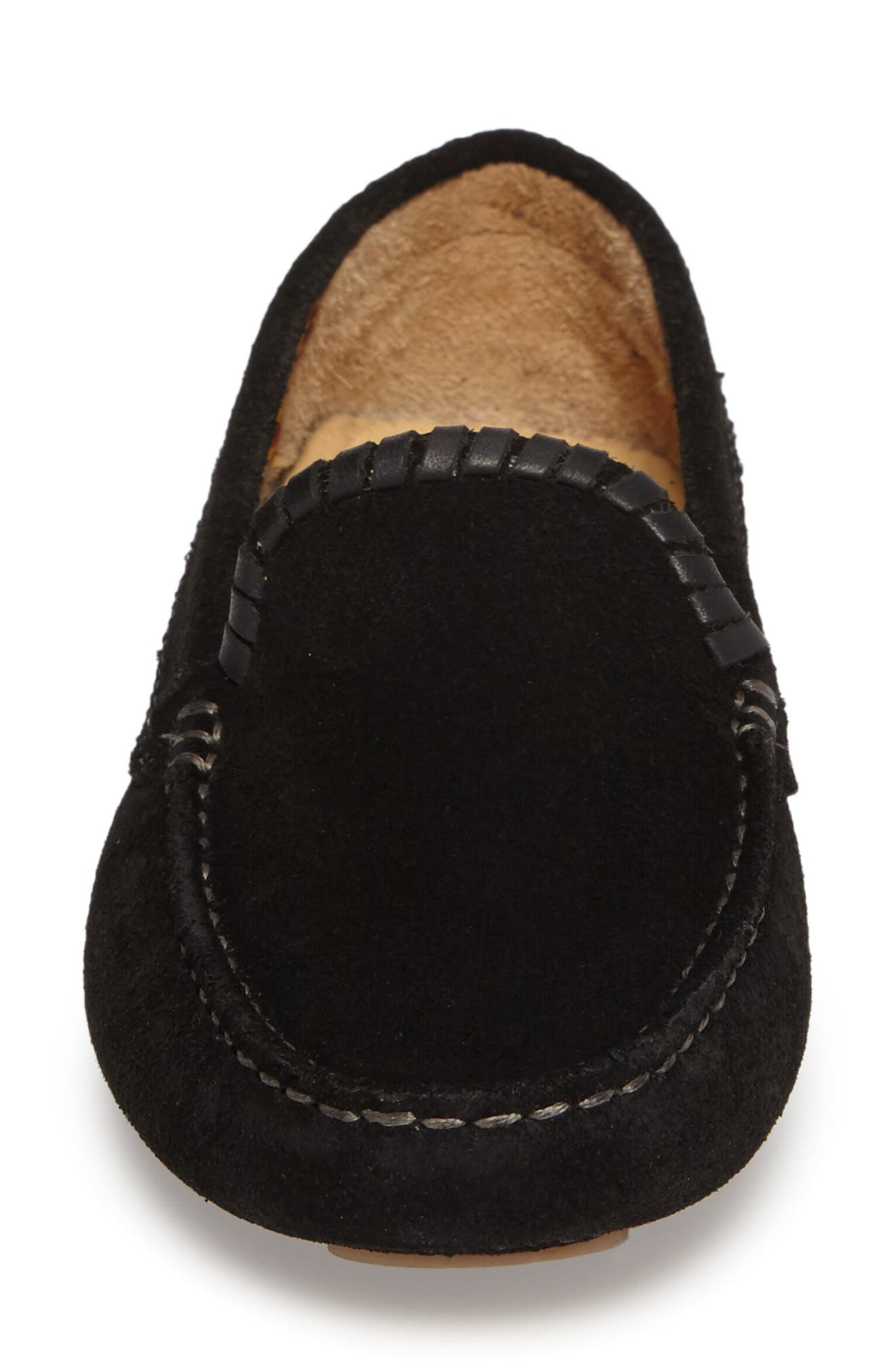 Taylor Driving Loafer,                             Alternate thumbnail 4, color,                             Black Suede