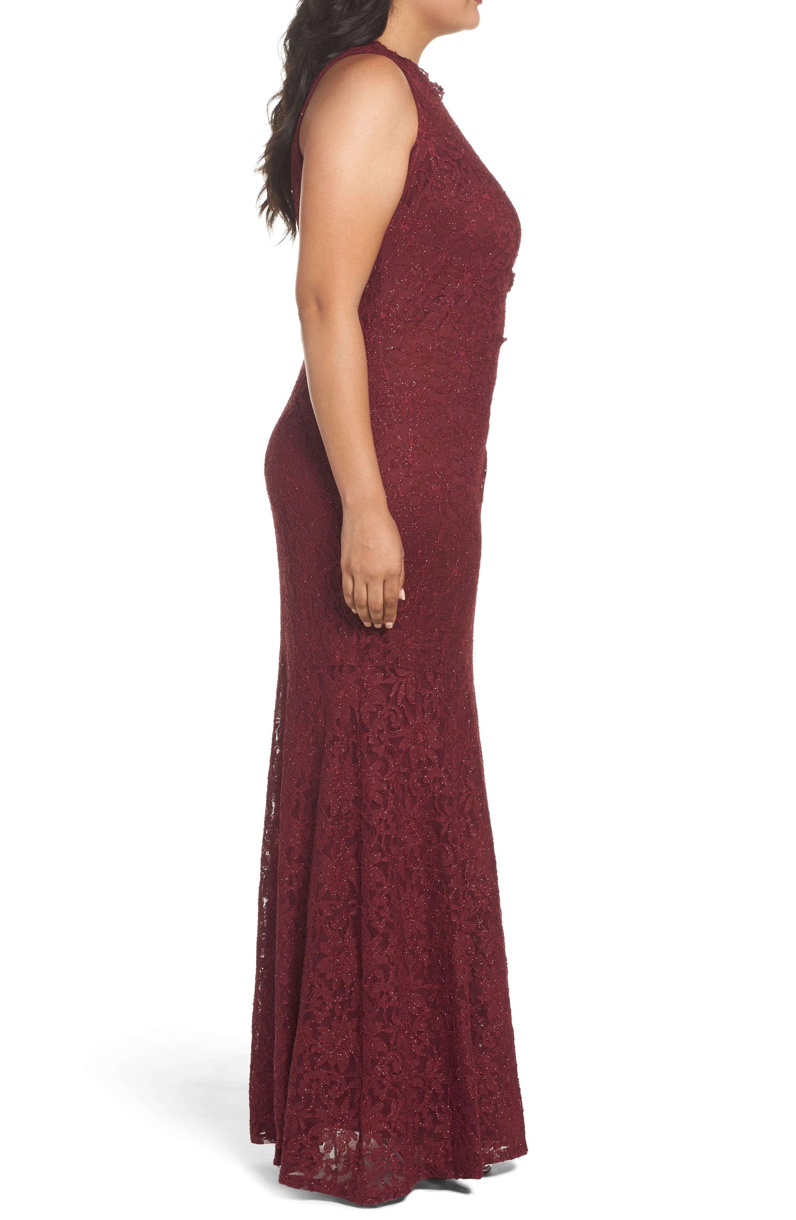One Shoulder Glitter Lace Gown,                             Alternate thumbnail 3, color,                             Merlot