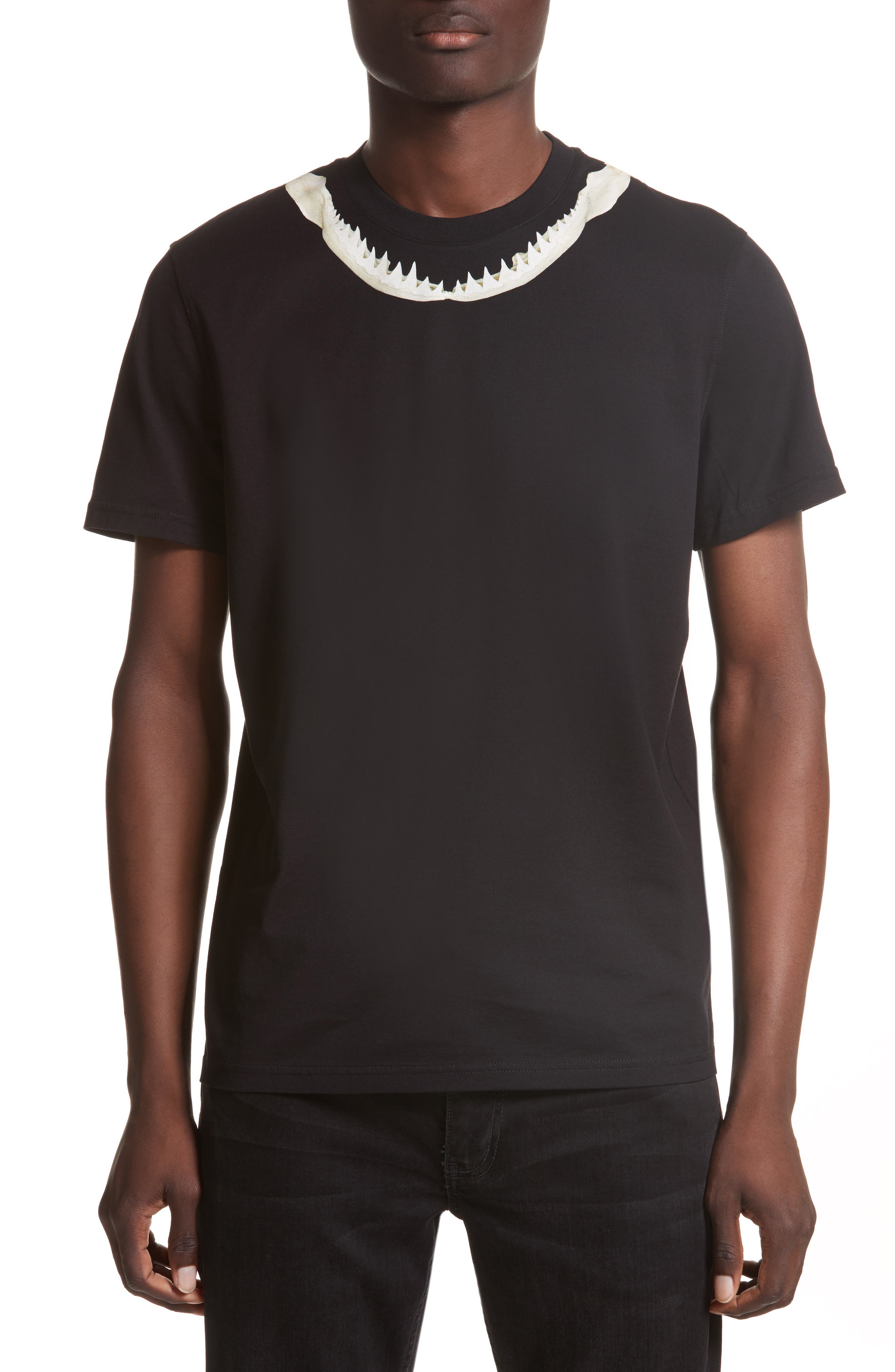 Cuban Fit Shark Print T-Shirt,                             Main thumbnail 1, color,                             Black