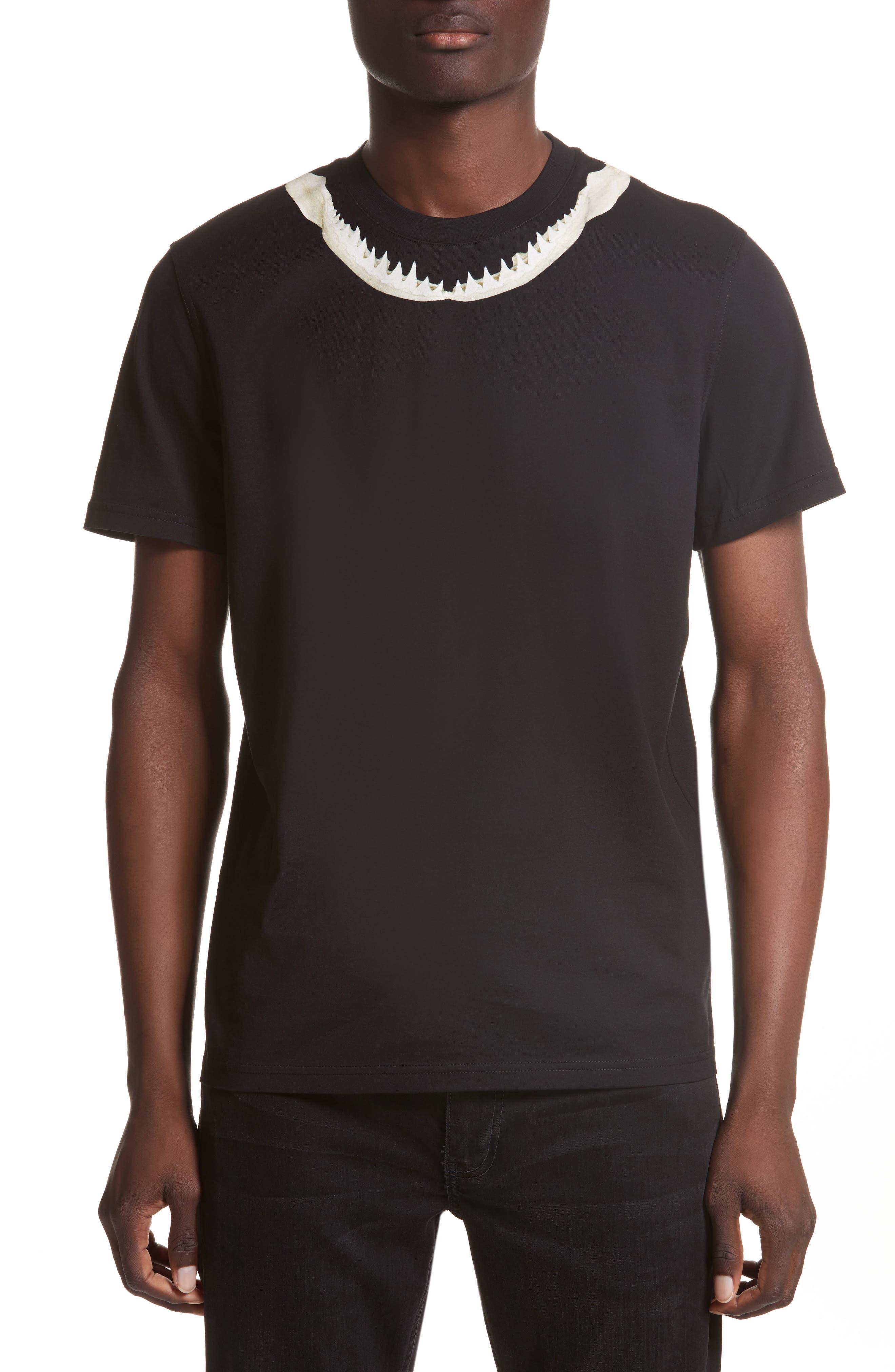 Cuban Fit Shark Print T-Shirt,                         Main,                         color, Black