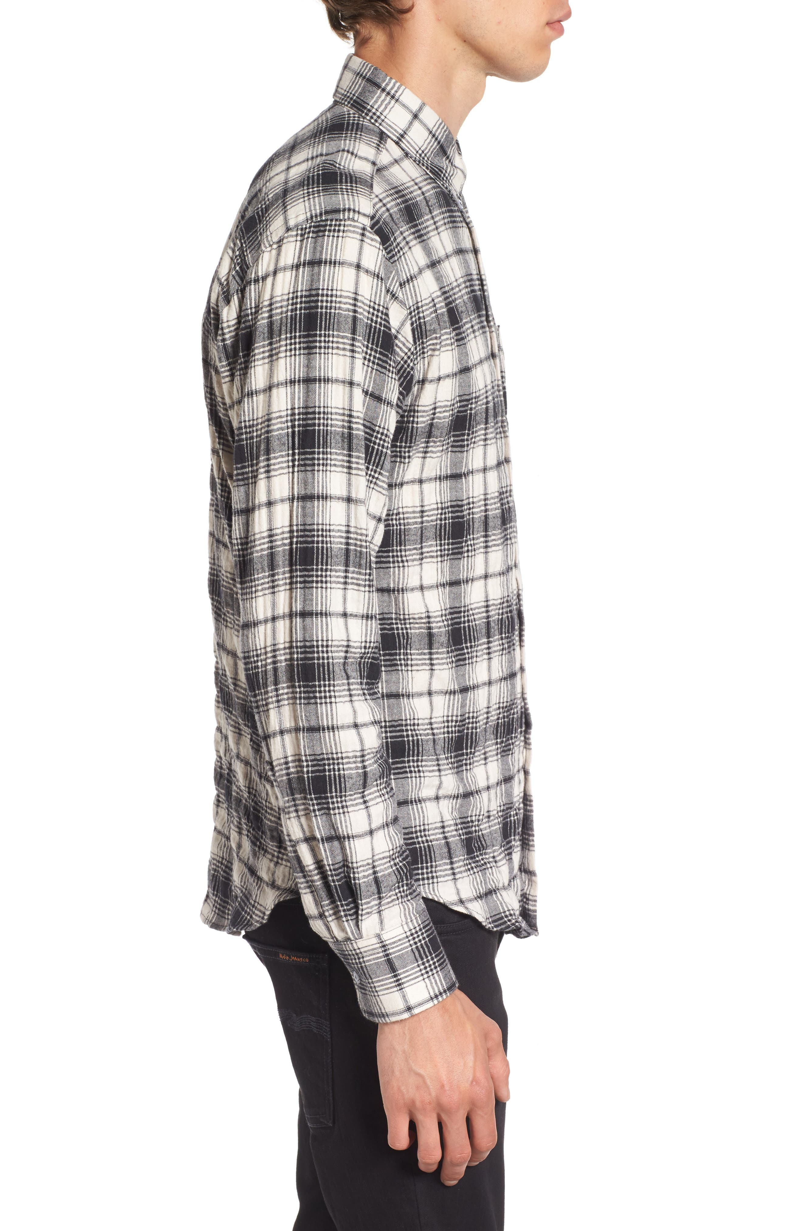 Regular Fit Plaid Flannel Sport Shirt,                             Alternate thumbnail 3, color,                             White