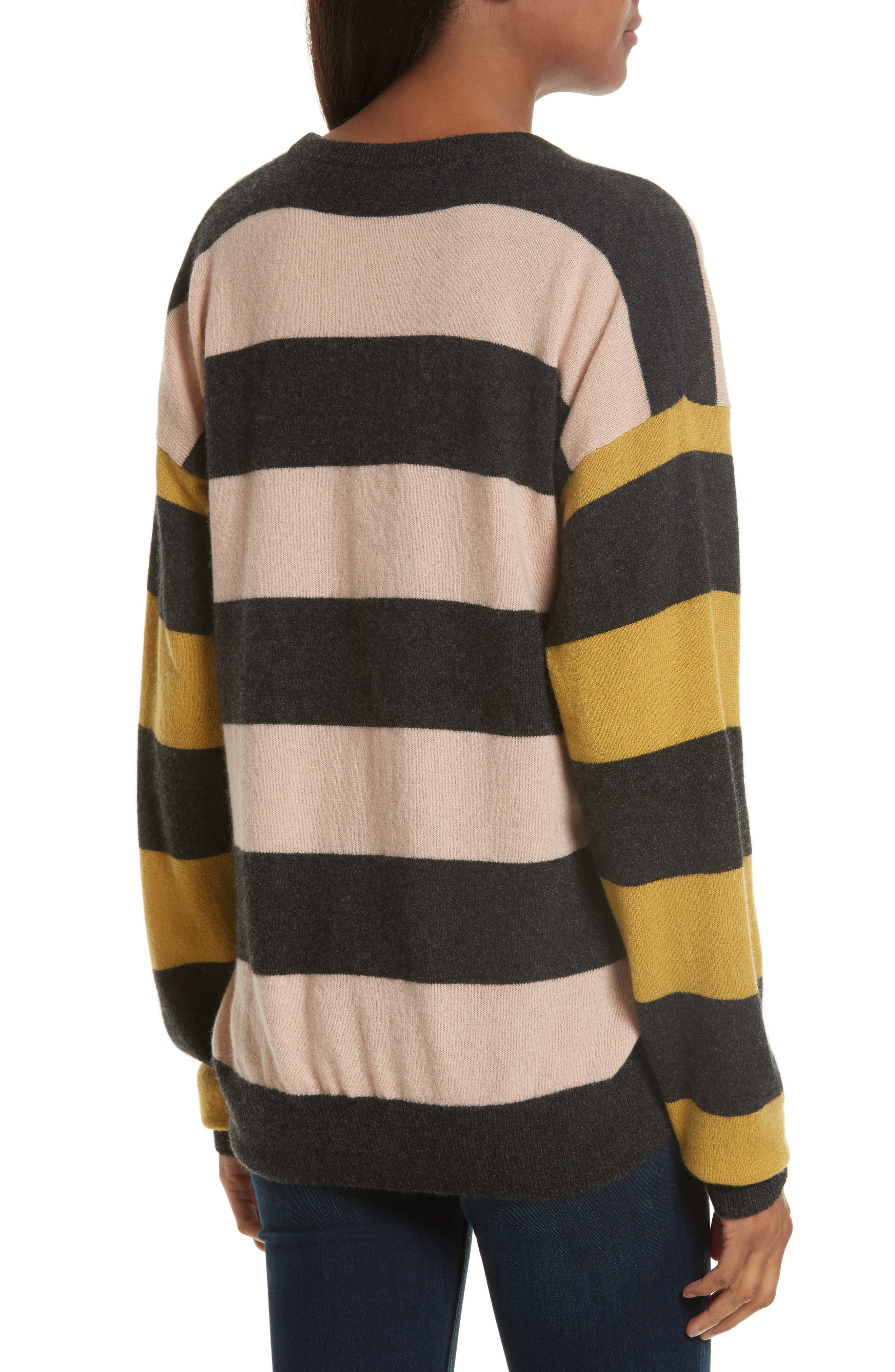 Lucinda Stripe Cashmere Sweater,                             Alternate thumbnail 2, color,                             French Nude