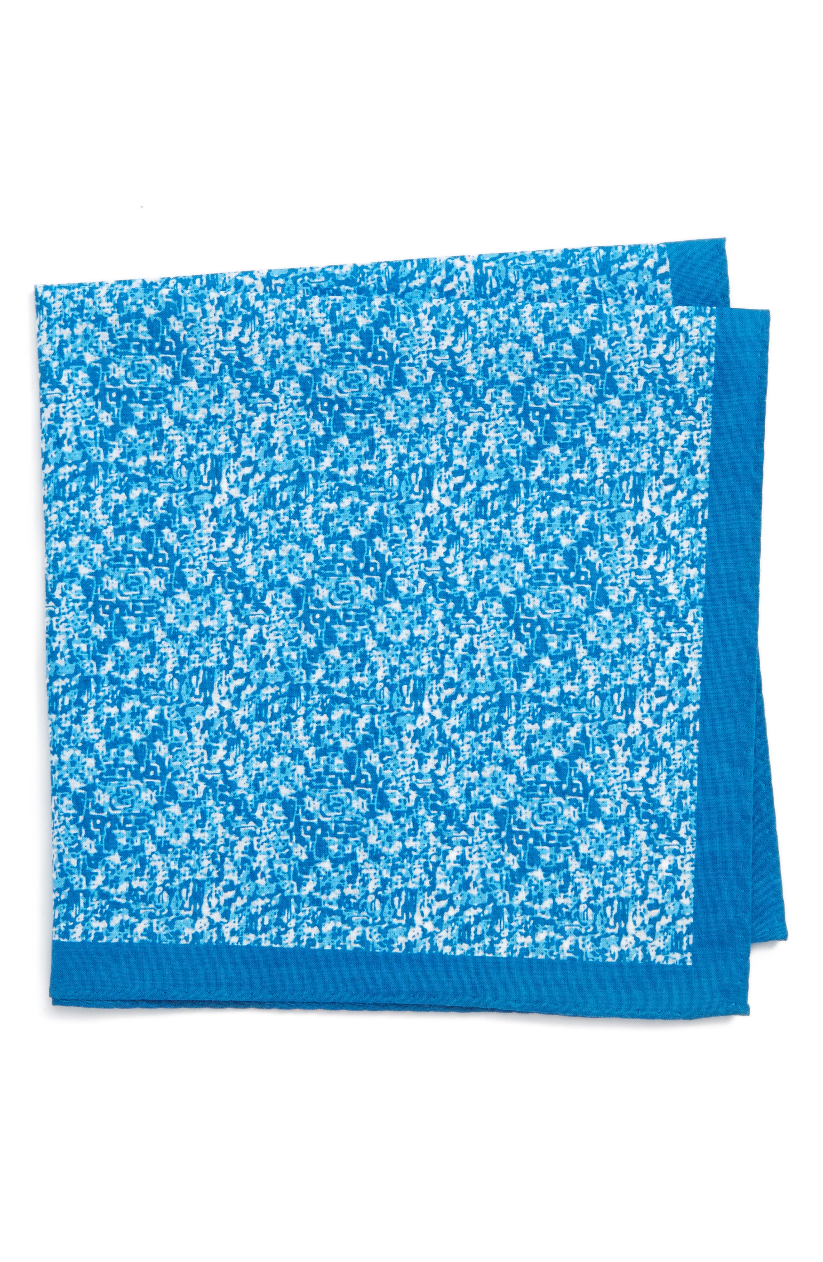 Panso Print Cotton Pocket Square,                             Main thumbnail 1, color,                             Aqua