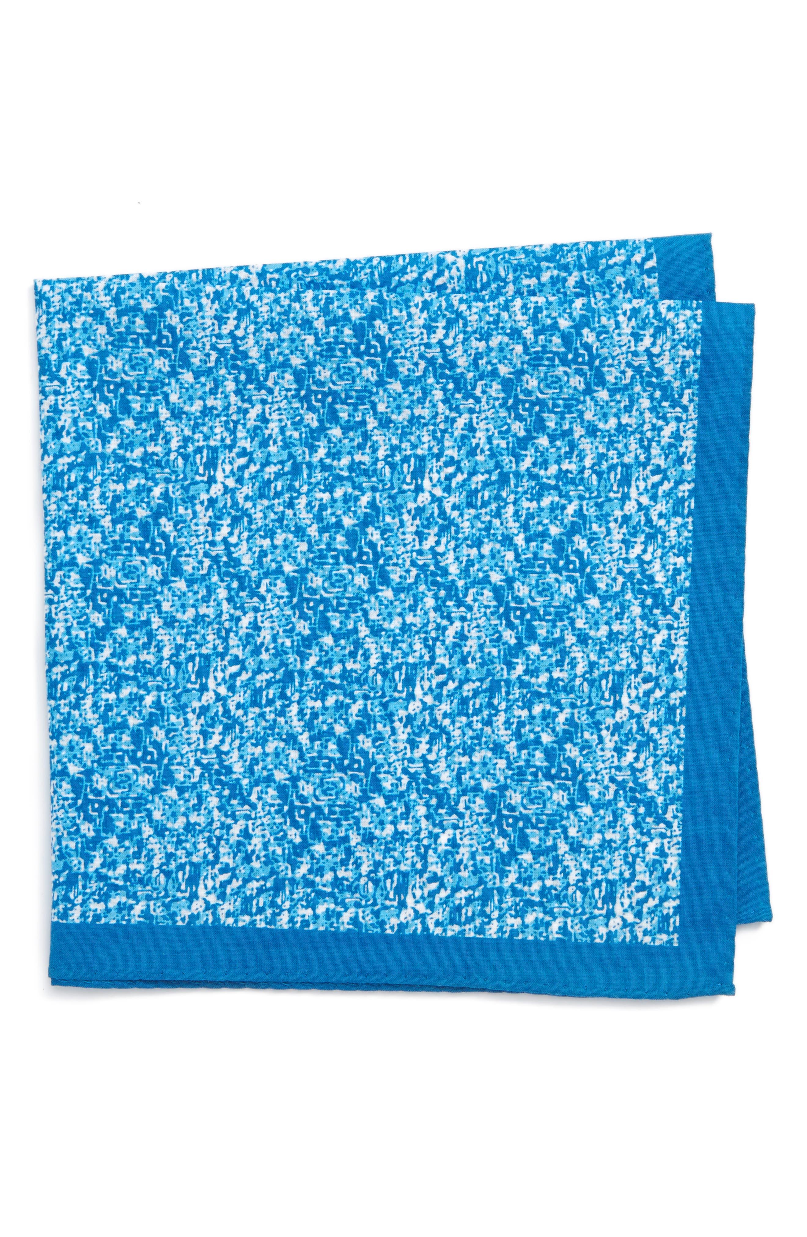 Panso Print Cotton Pocket Square,                         Main,                         color, Aqua