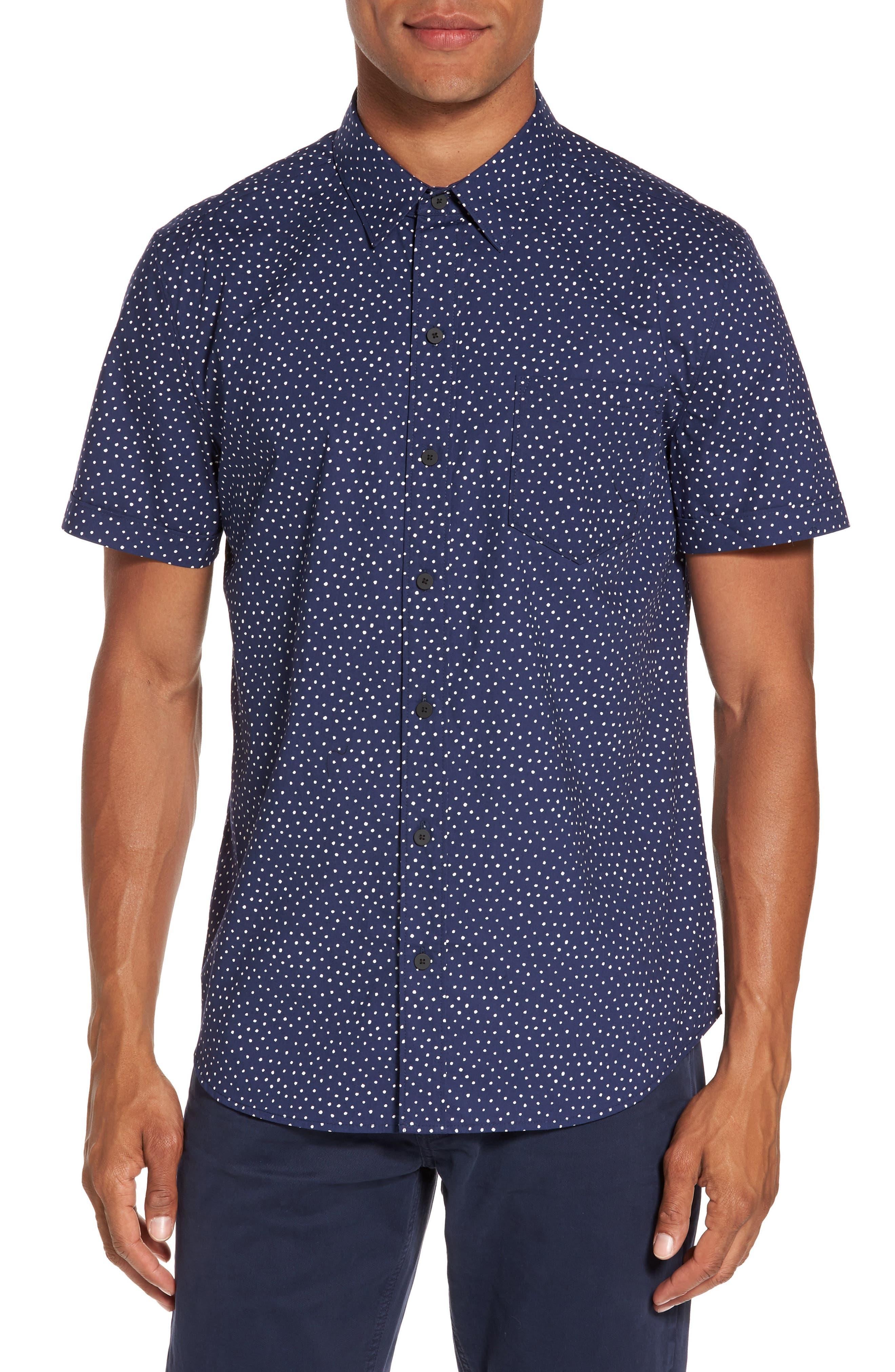 Becker Dot Print Woven Shirt,                         Main,                         color, Mystic Blue