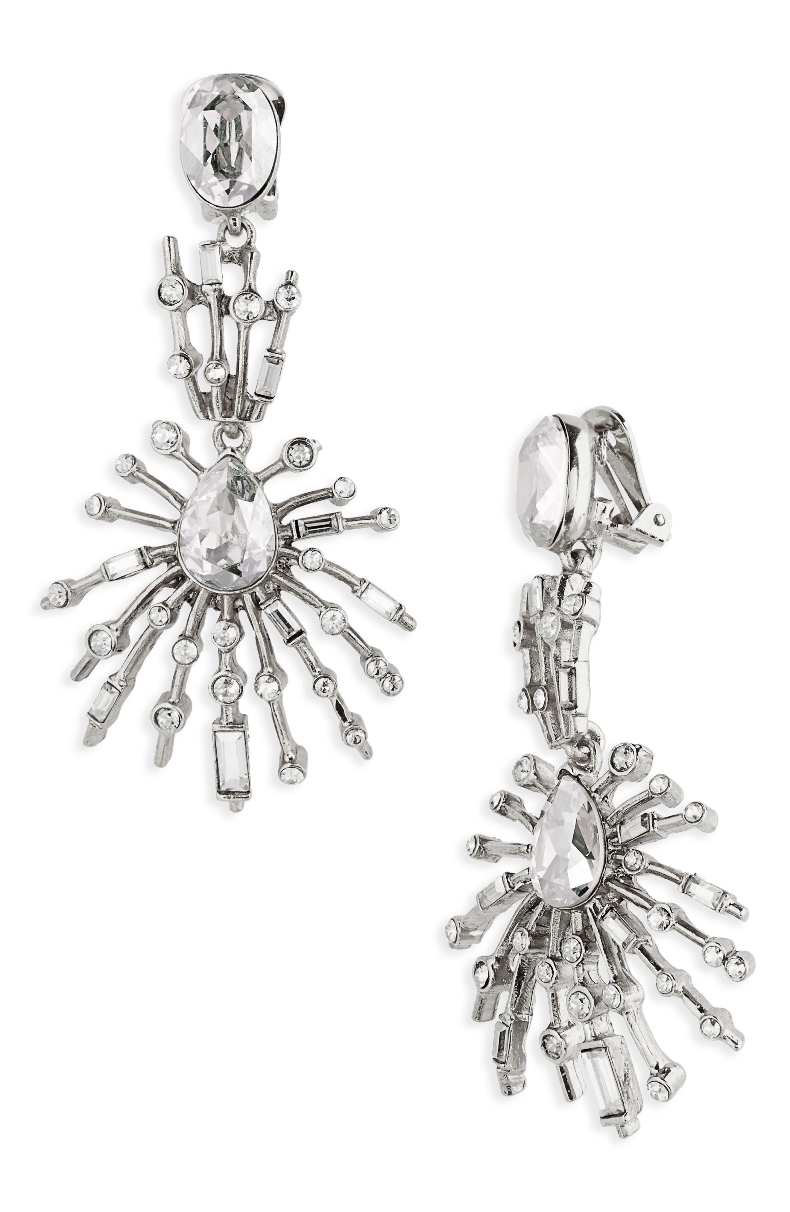Oscar de le Renta Radial Crystal Clip Earrings,                             Main thumbnail 1, color,                             Crystal