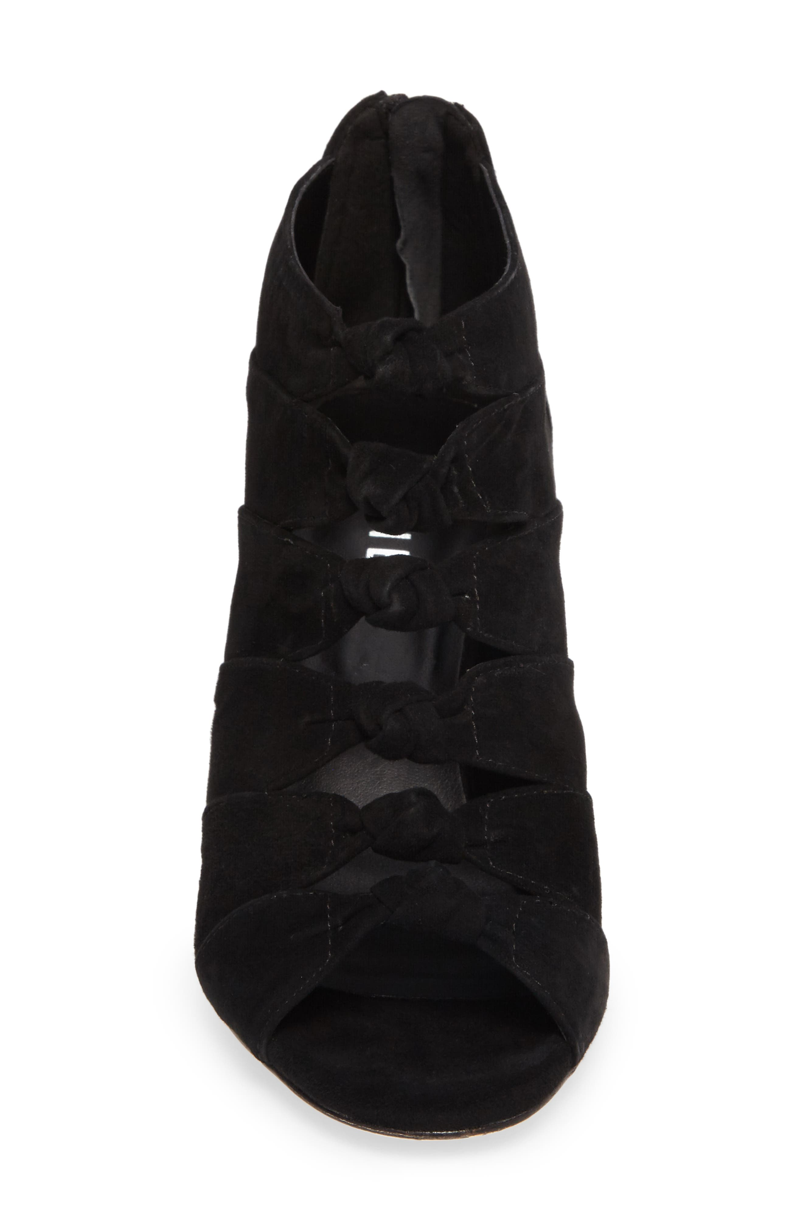 Betsy Open Toe Bootie,                             Alternate thumbnail 4, color,                             Black Suede