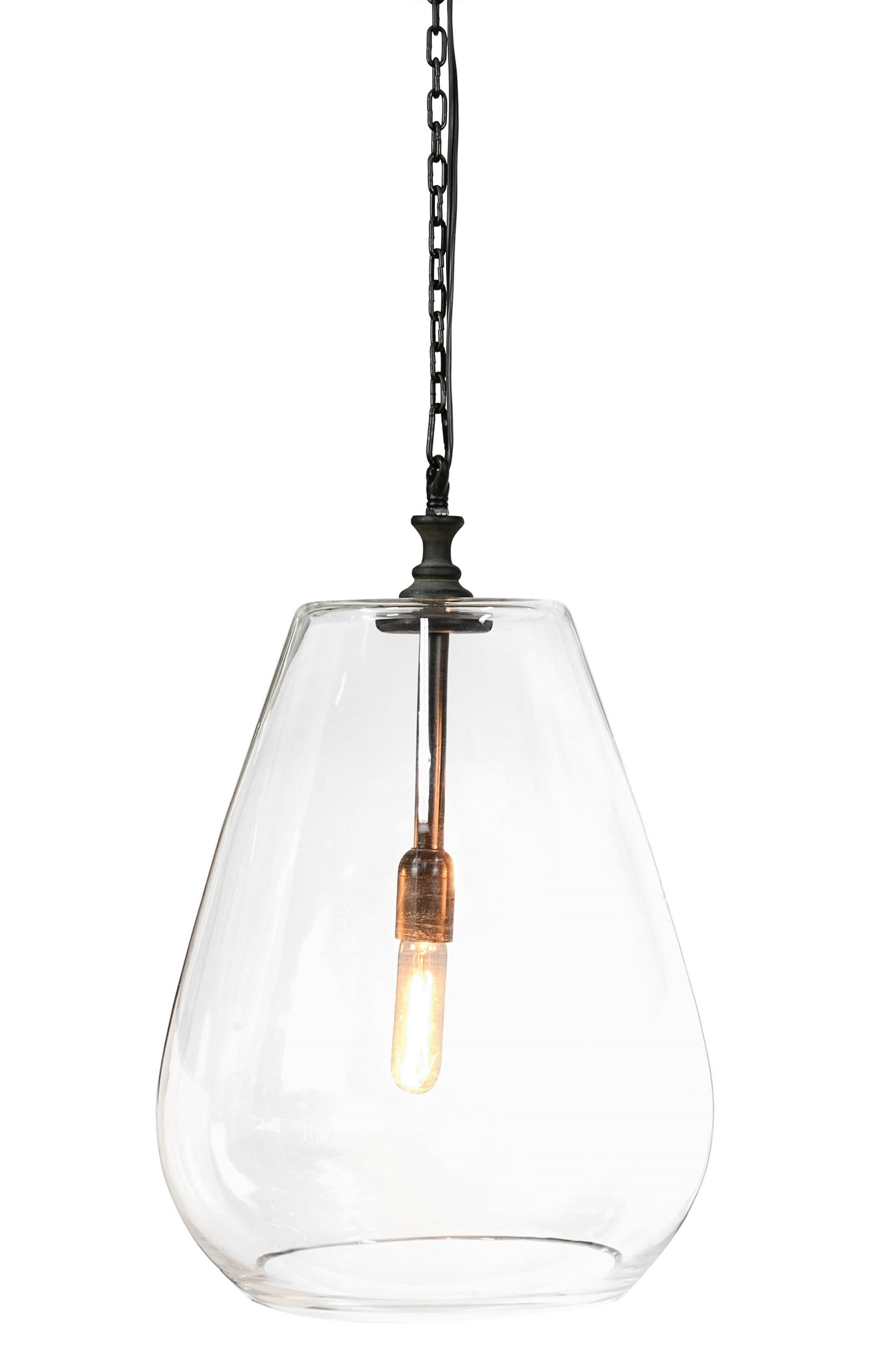 Odense Glass Pendant Lamp,                             Main thumbnail 1, color,                             Iron/ Black