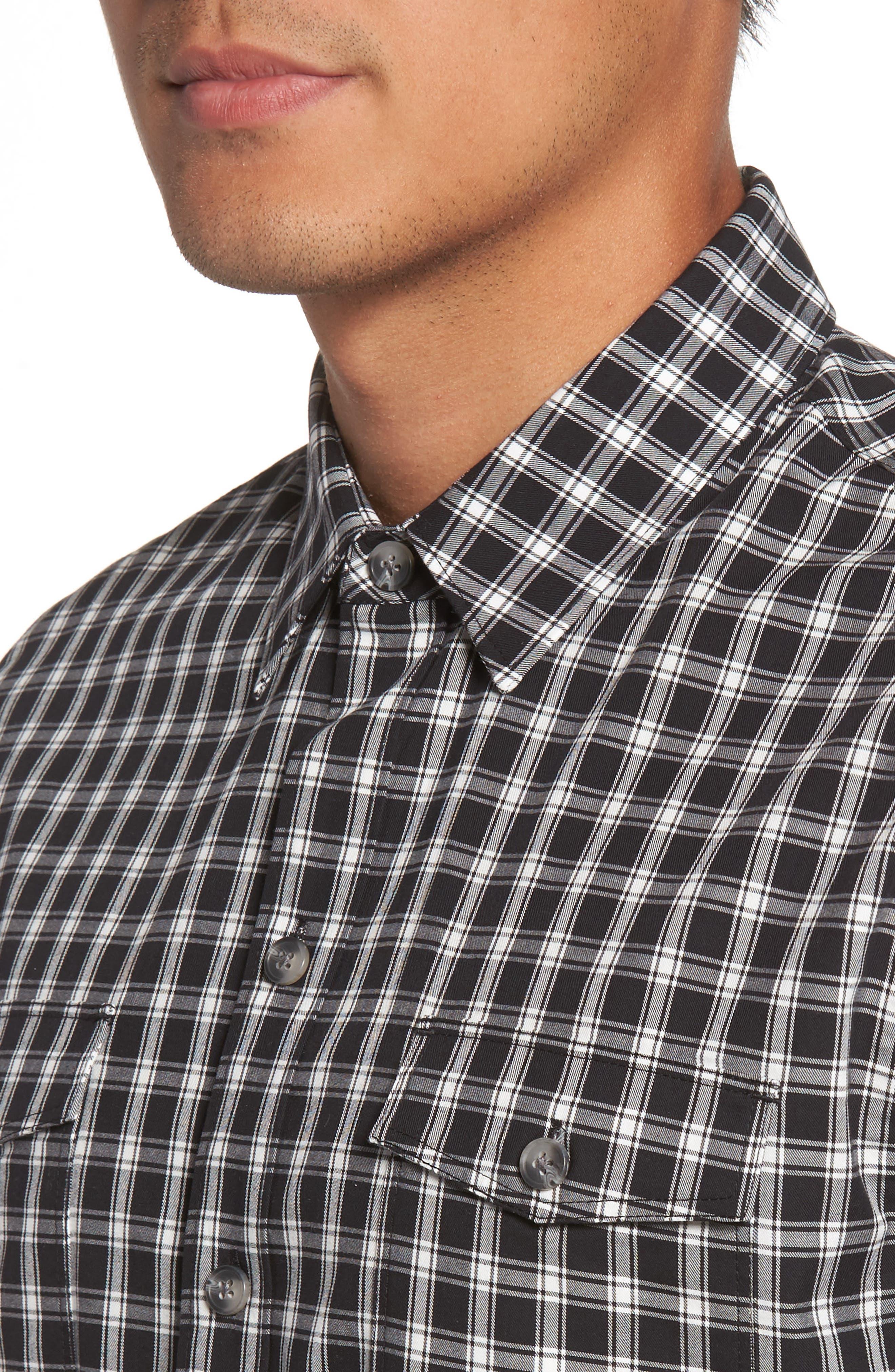 Everett Check Sport Shirt,                             Alternate thumbnail 4, color,                             Black Slate