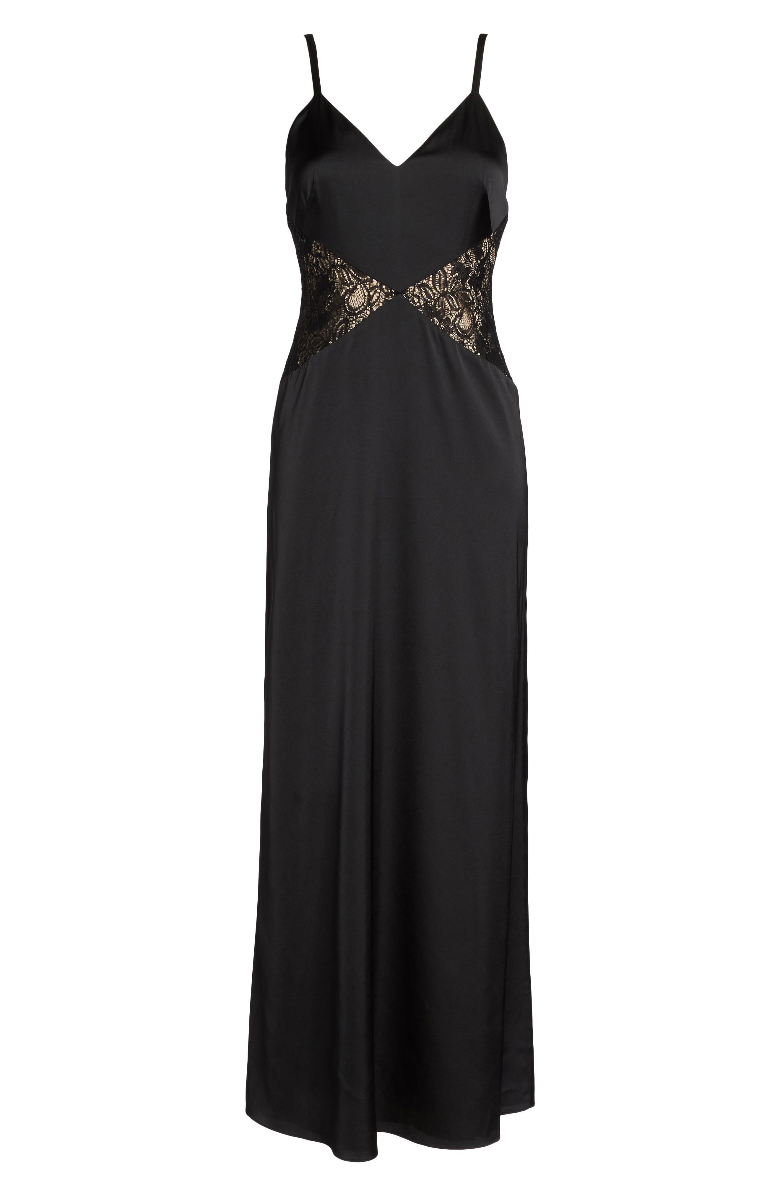 Femme Fatale Slip Dress,                             Alternate thumbnail 7, color,                             Black