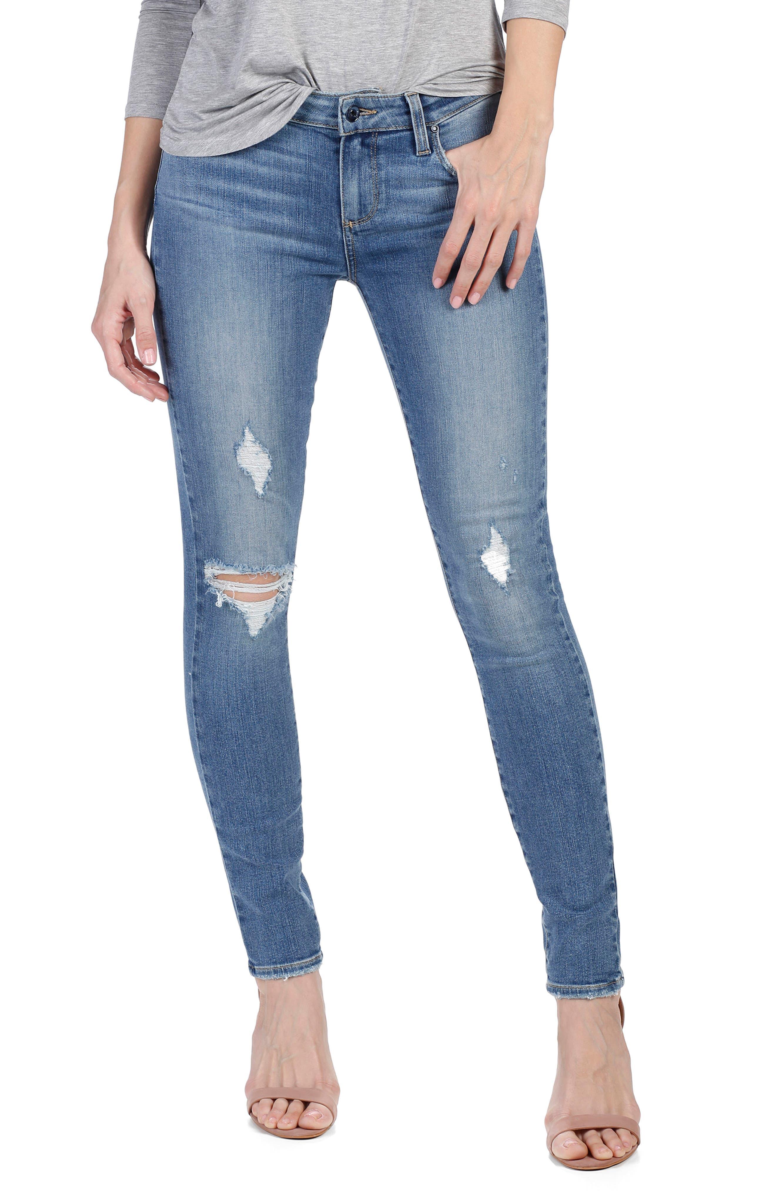 Main Image - PAIGE Transcend - Verdugo Ultra Skinny Jeans (Sienna Destructed)