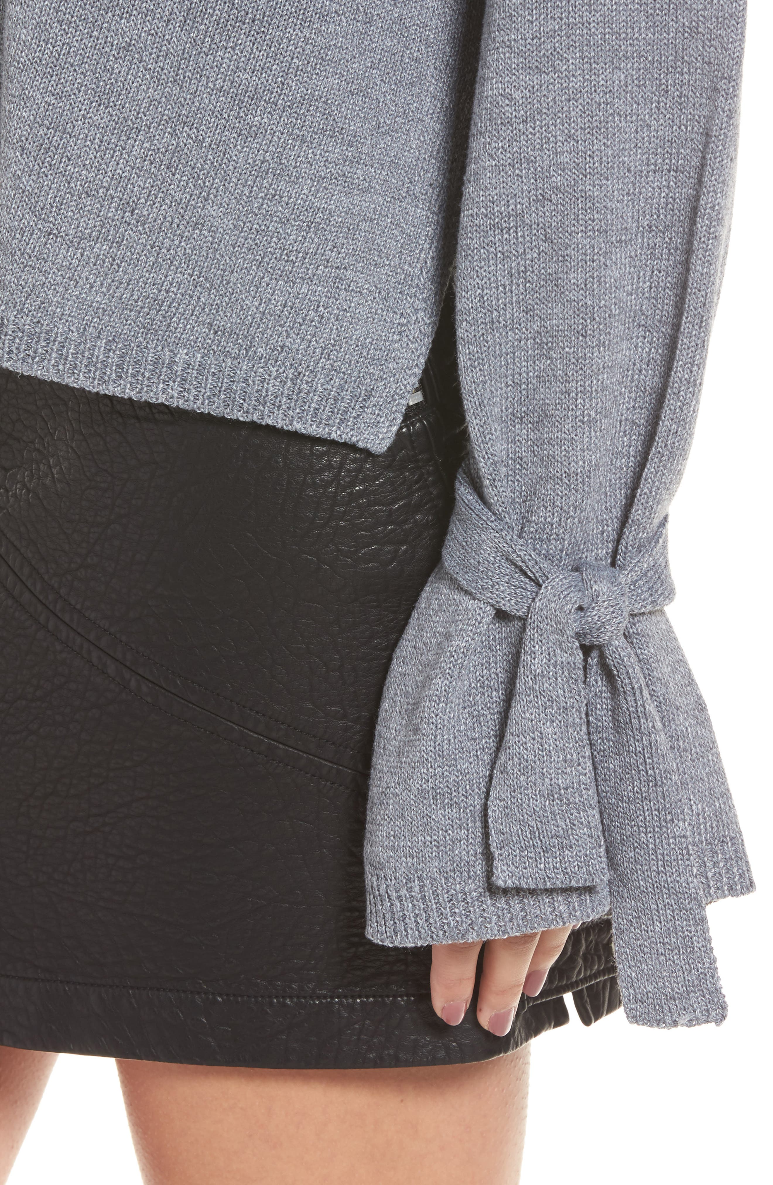 Tie Sleeve Sweater,                             Alternate thumbnail 4, color,                             Heather Grey