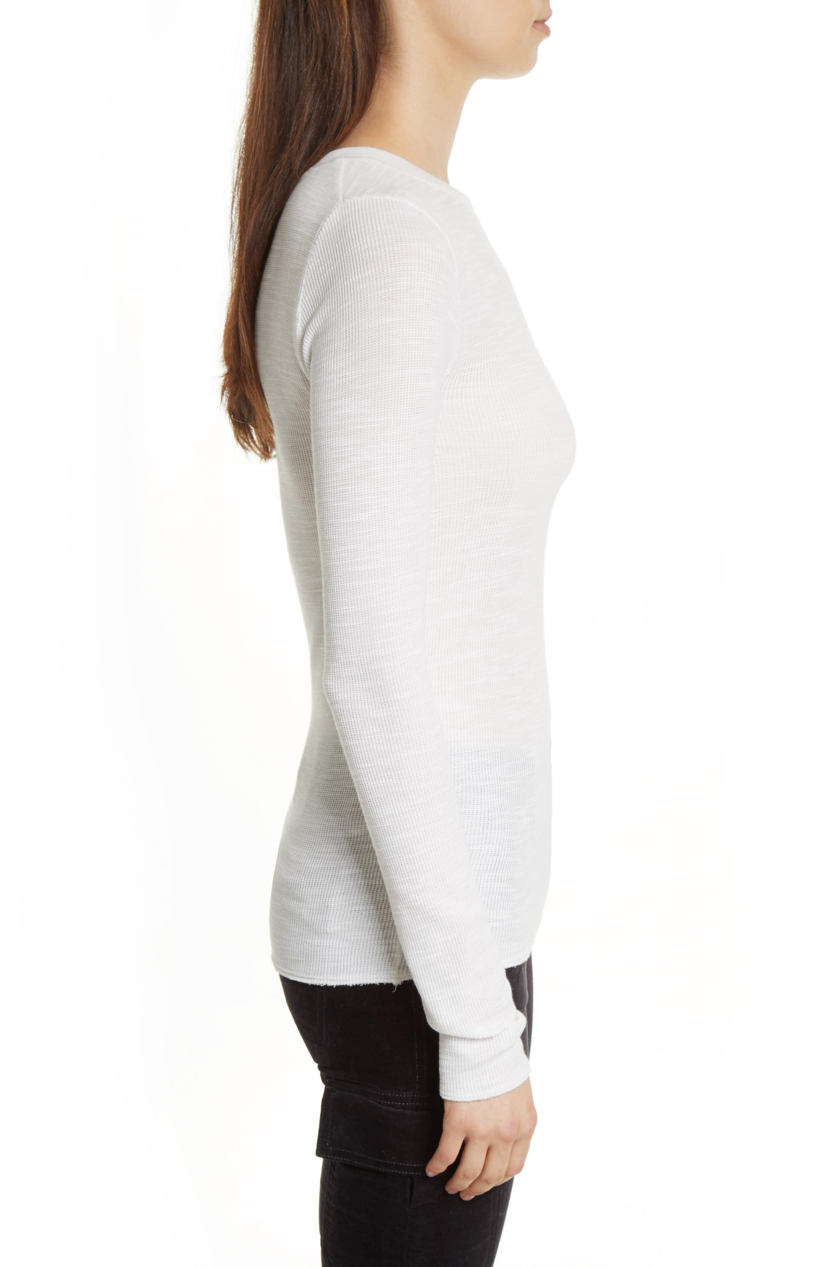 Long Sleeve Thermal Sweater,                             Alternate thumbnail 3, color,                             Off White