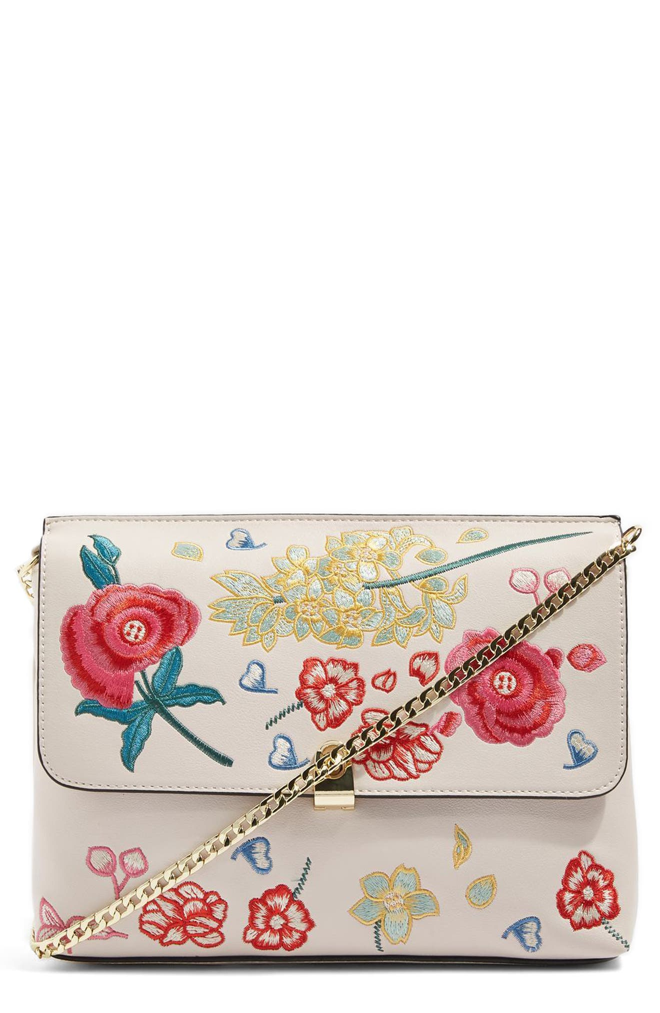 Topshop Floral Embroidered Faux Leather Crossbody Bag