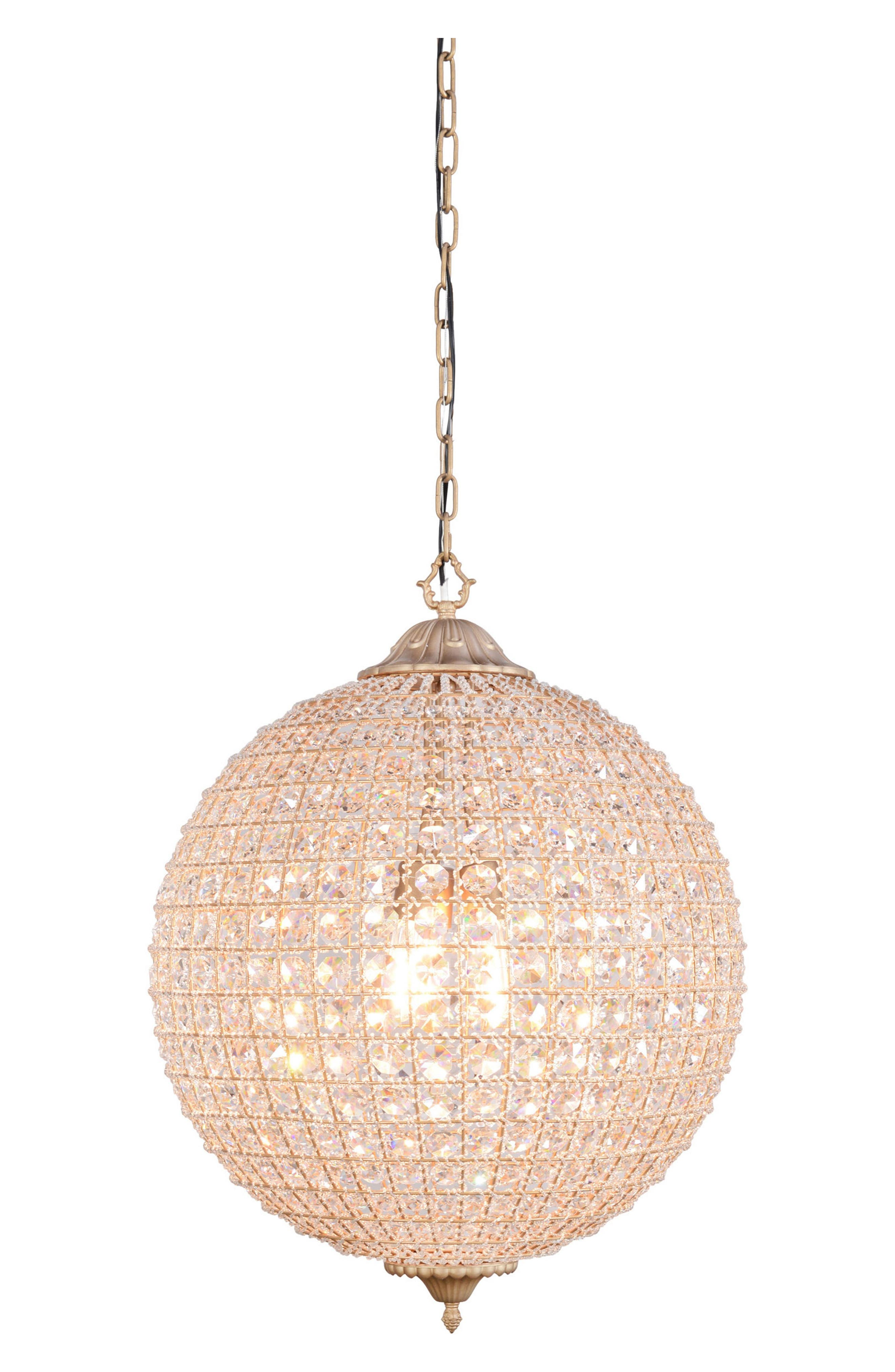 Cimberleigh Chandelier,                         Main,                         color, Brass With Crystals