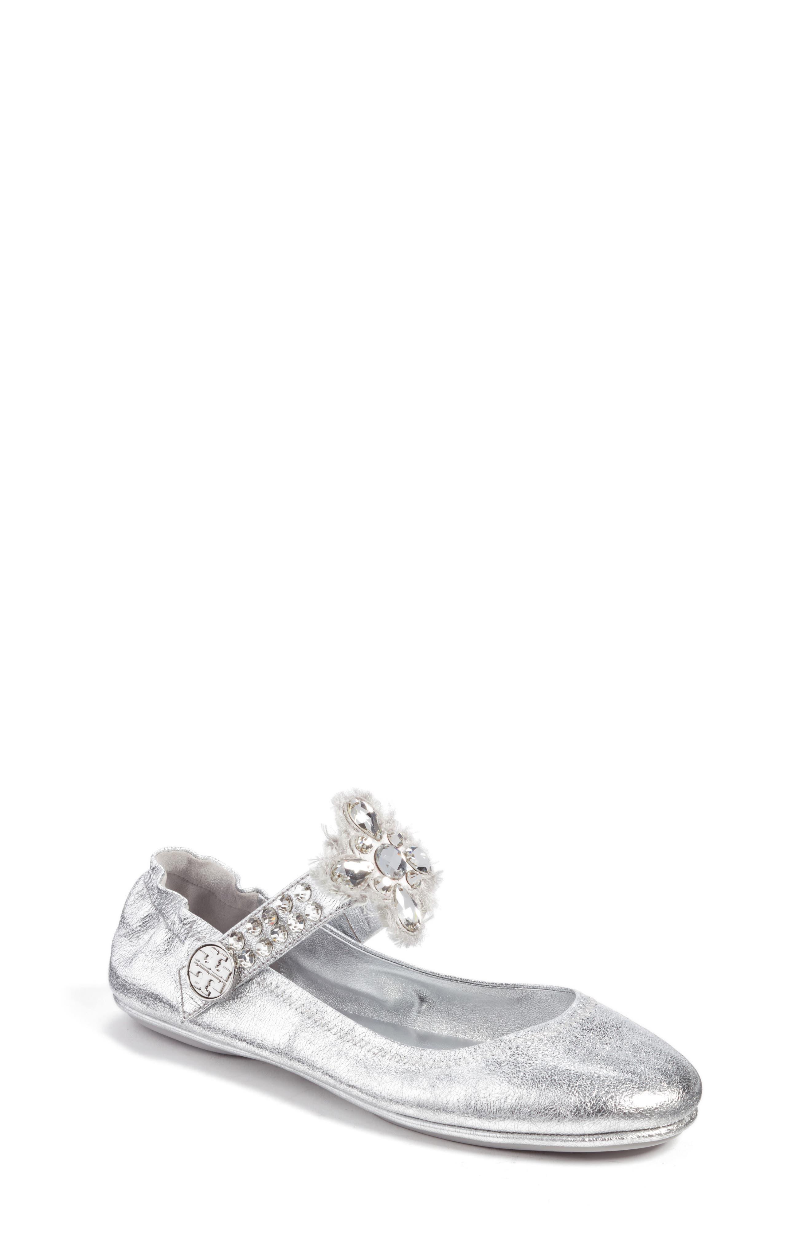 Tory Burch Minnie Embellished Convertible Strap Ballet Flat (Women)