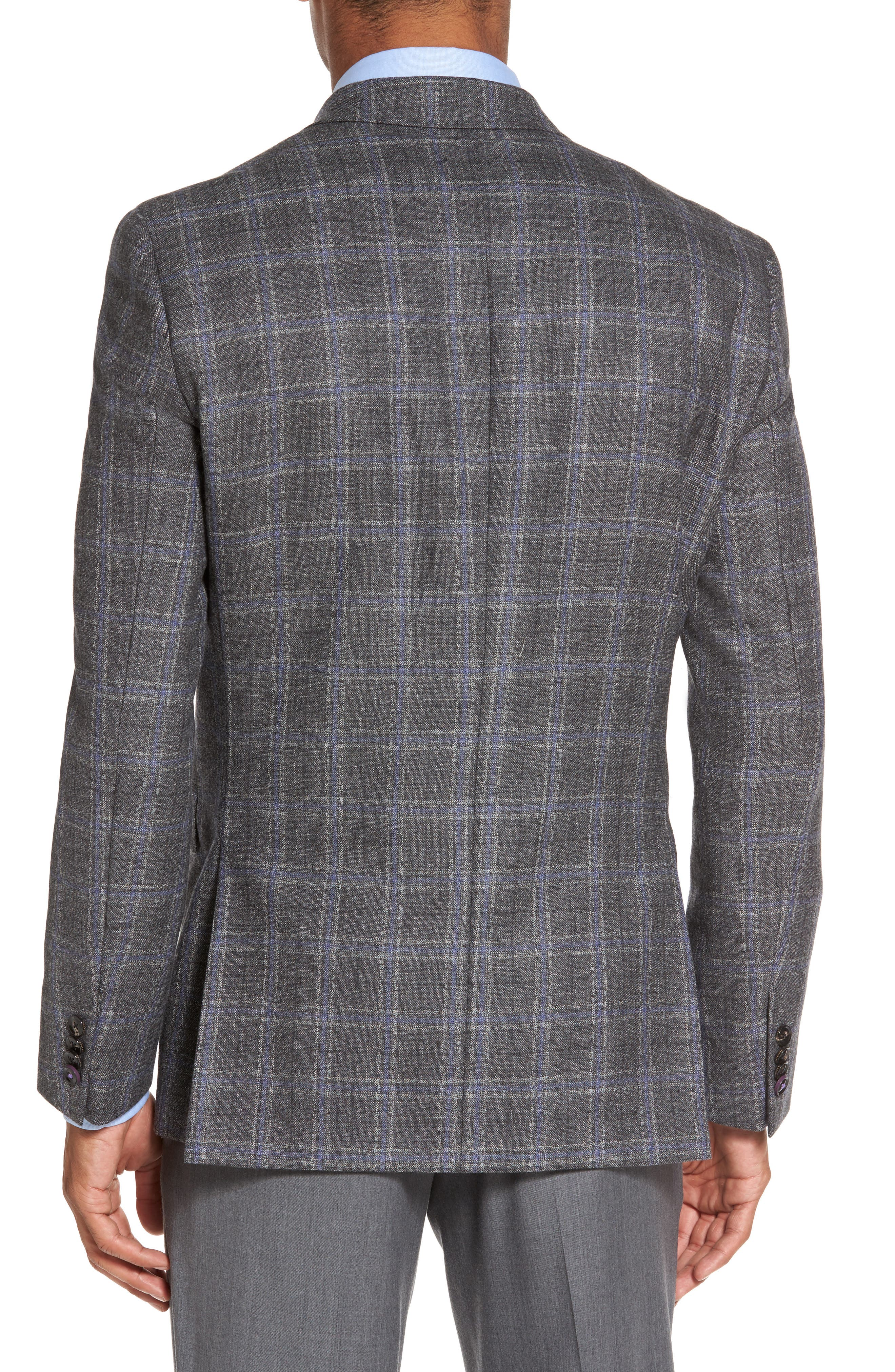 Tivoli Trim Fit Plaid Wool Sport Coat,                             Alternate thumbnail 2, color,                             Light Grey