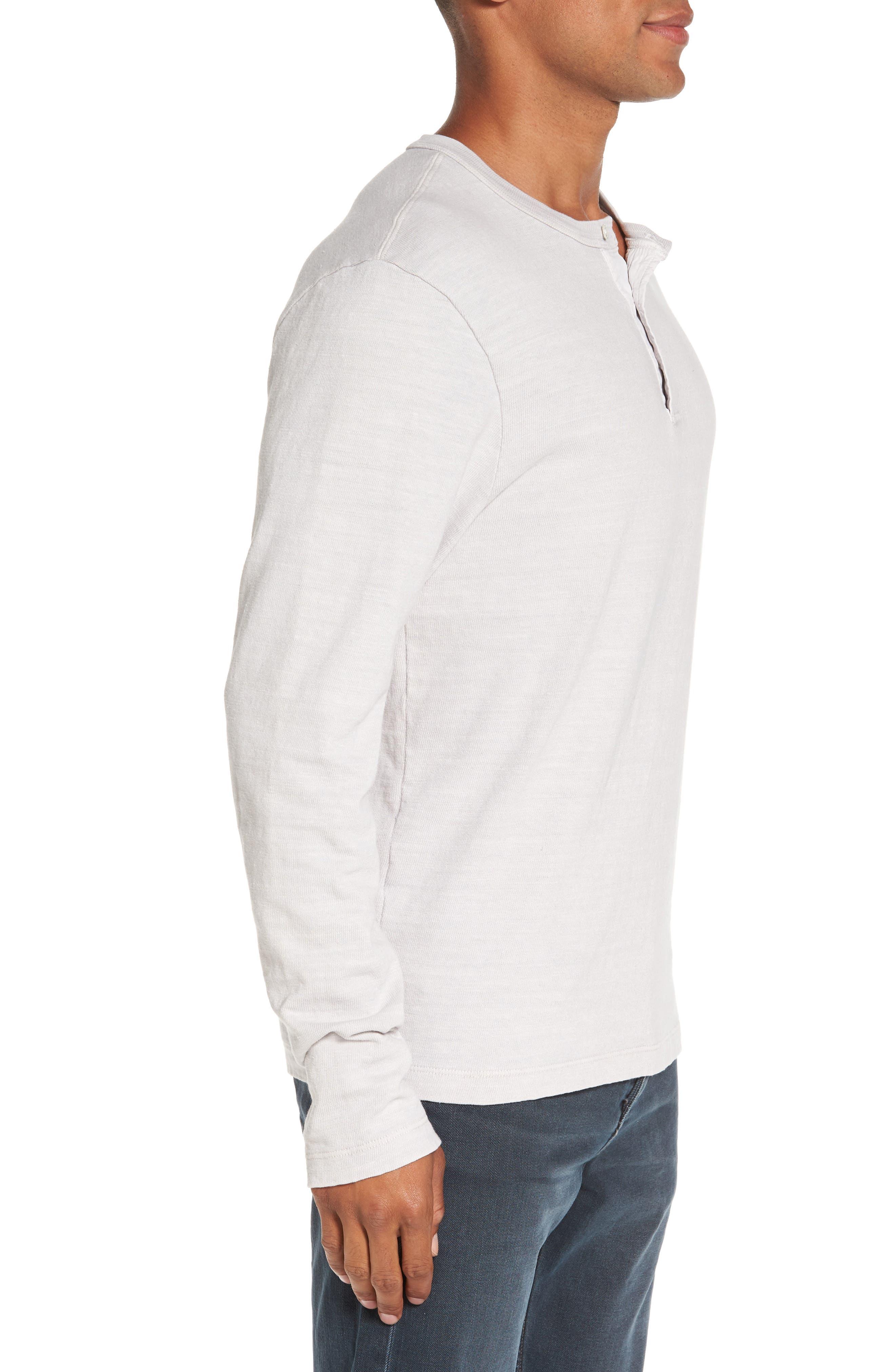 Long Sleeve Henley T-Shirt,                             Alternate thumbnail 3, color,                             Concrete Dust Pigment