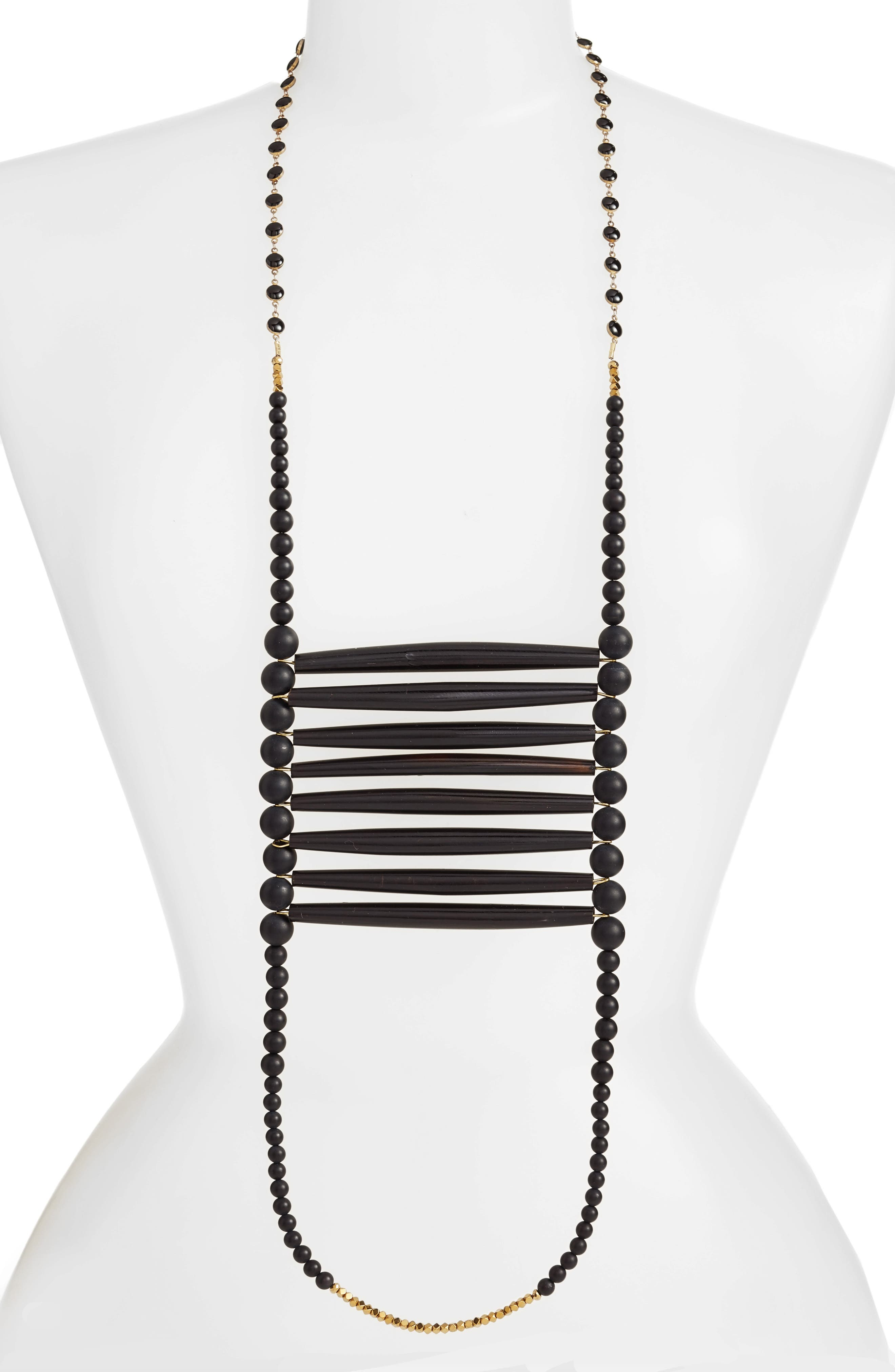 Into the Black Extra Long Beaded Necklace,                             Main thumbnail 1, color,                             Black