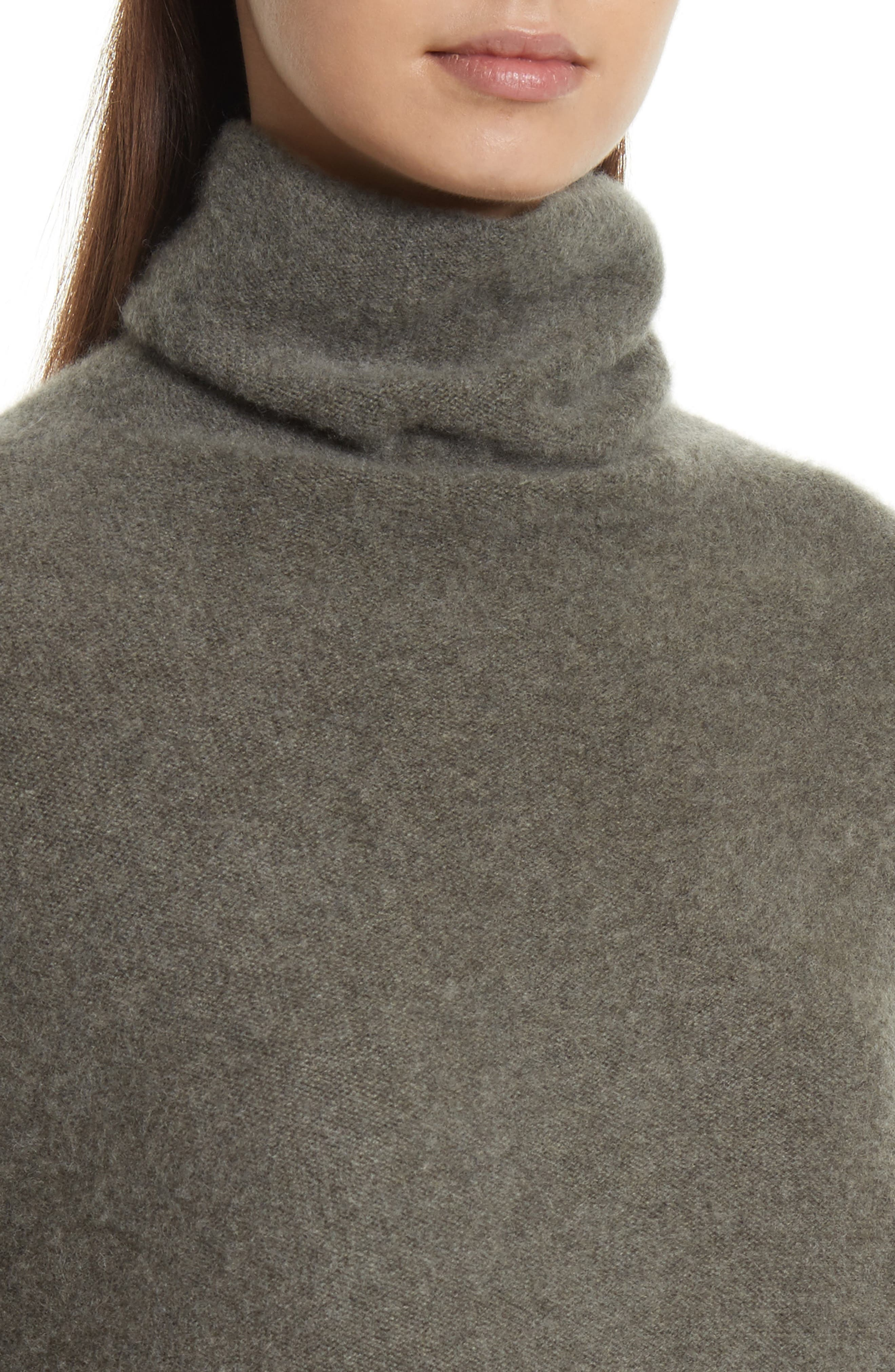 Boxy Mock Neck Cashmere Sweater,                             Alternate thumbnail 4, color,                             Desert Sage