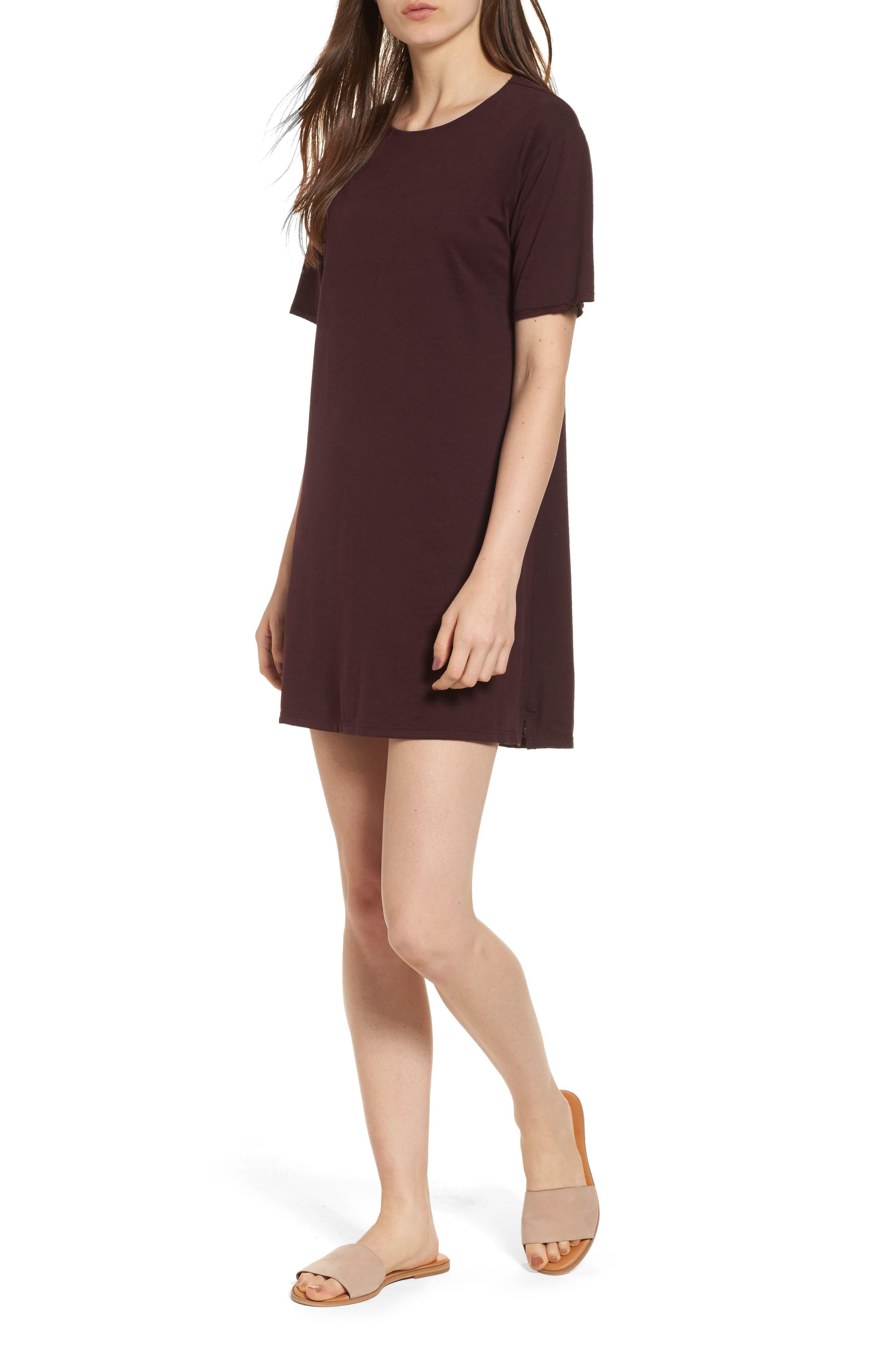 Tie Back T-Shirt Dress,                         Main,                         color, Blackberry
