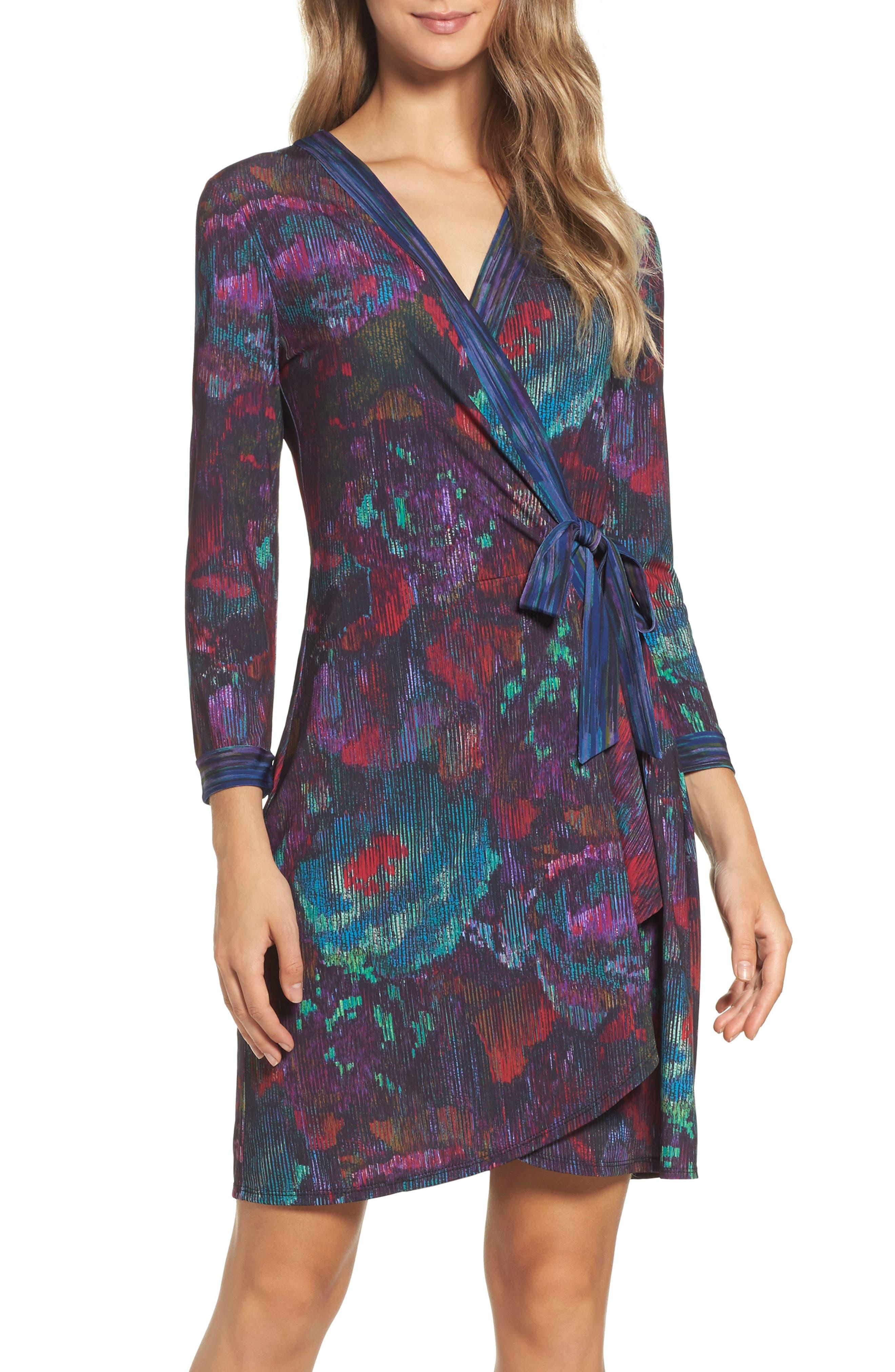 BCBGMAXAZRIA Adele Rose Tapestry Wrap Dress