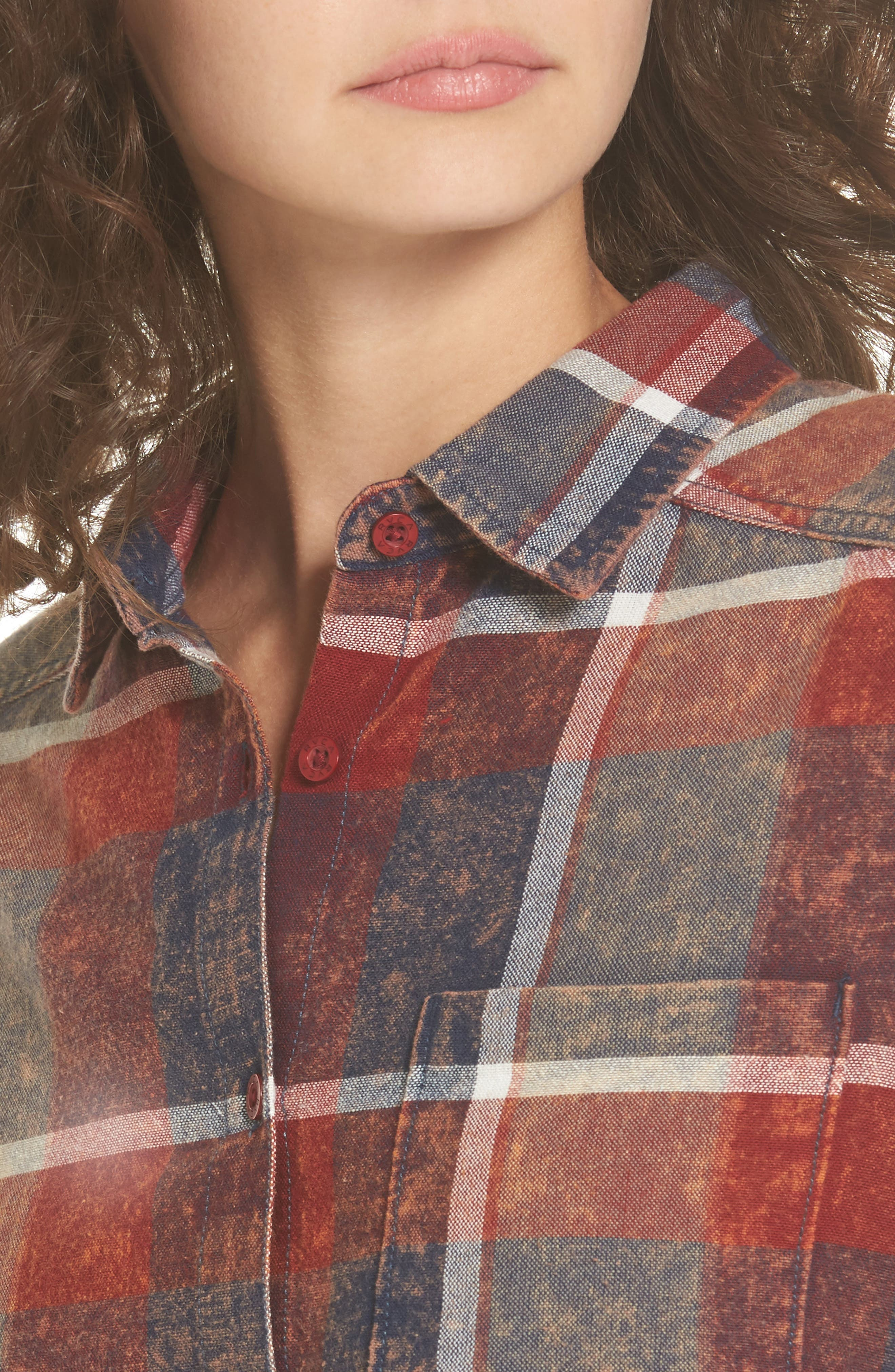 Alternate Image 4  - RVCA Pops Cotton Plaid Shirt