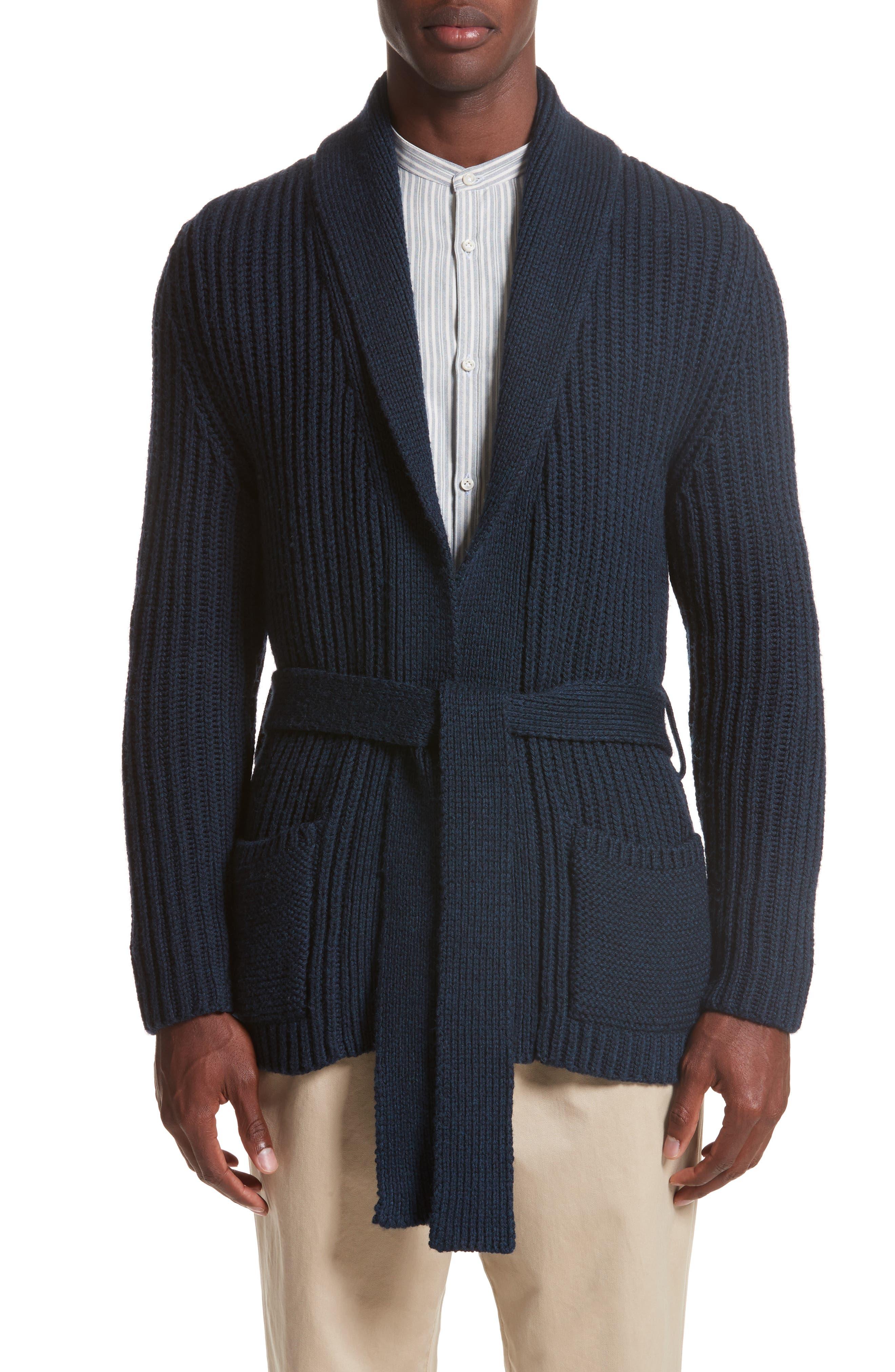 Belted English Rib Shawl Collar Cardigan,                             Main thumbnail 1, color,                             Deep Well