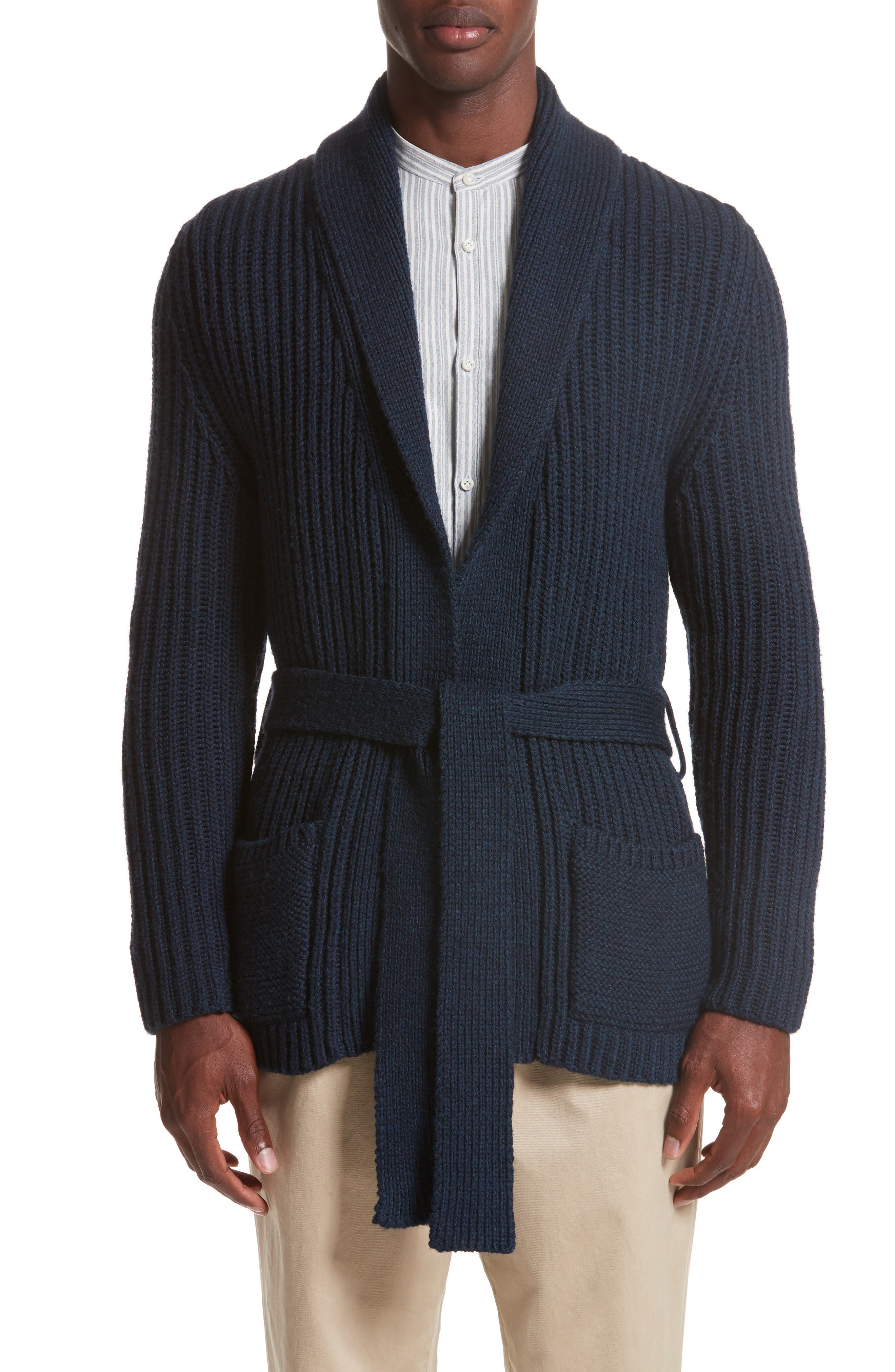 Belted English Rib Shawl Collar Cardigan,                         Main,                         color, Deep Well