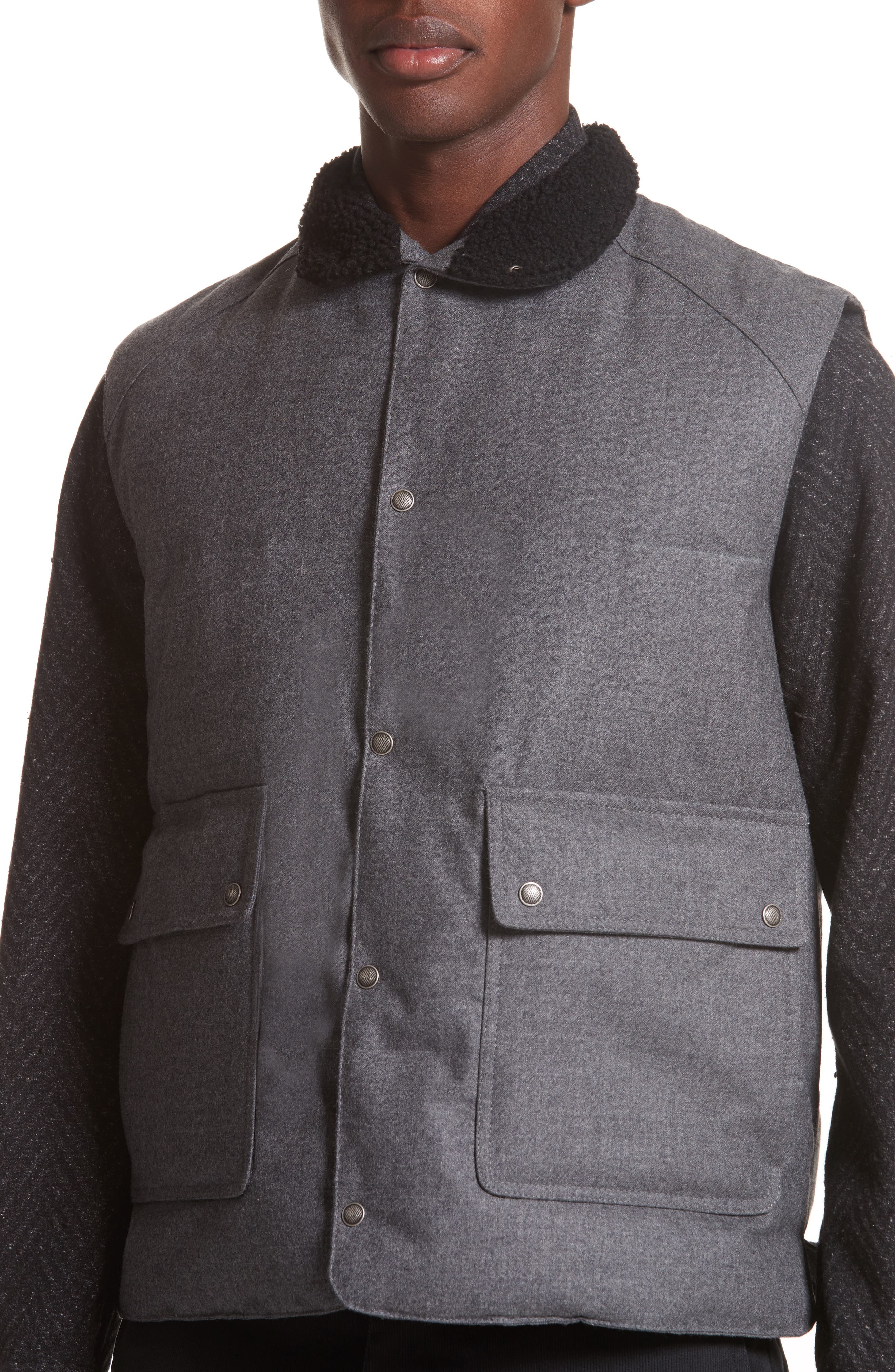 Water Resistant Wool Down Vest with Genuine Shearling Collar,                             Alternate thumbnail 4, color,                             Grey