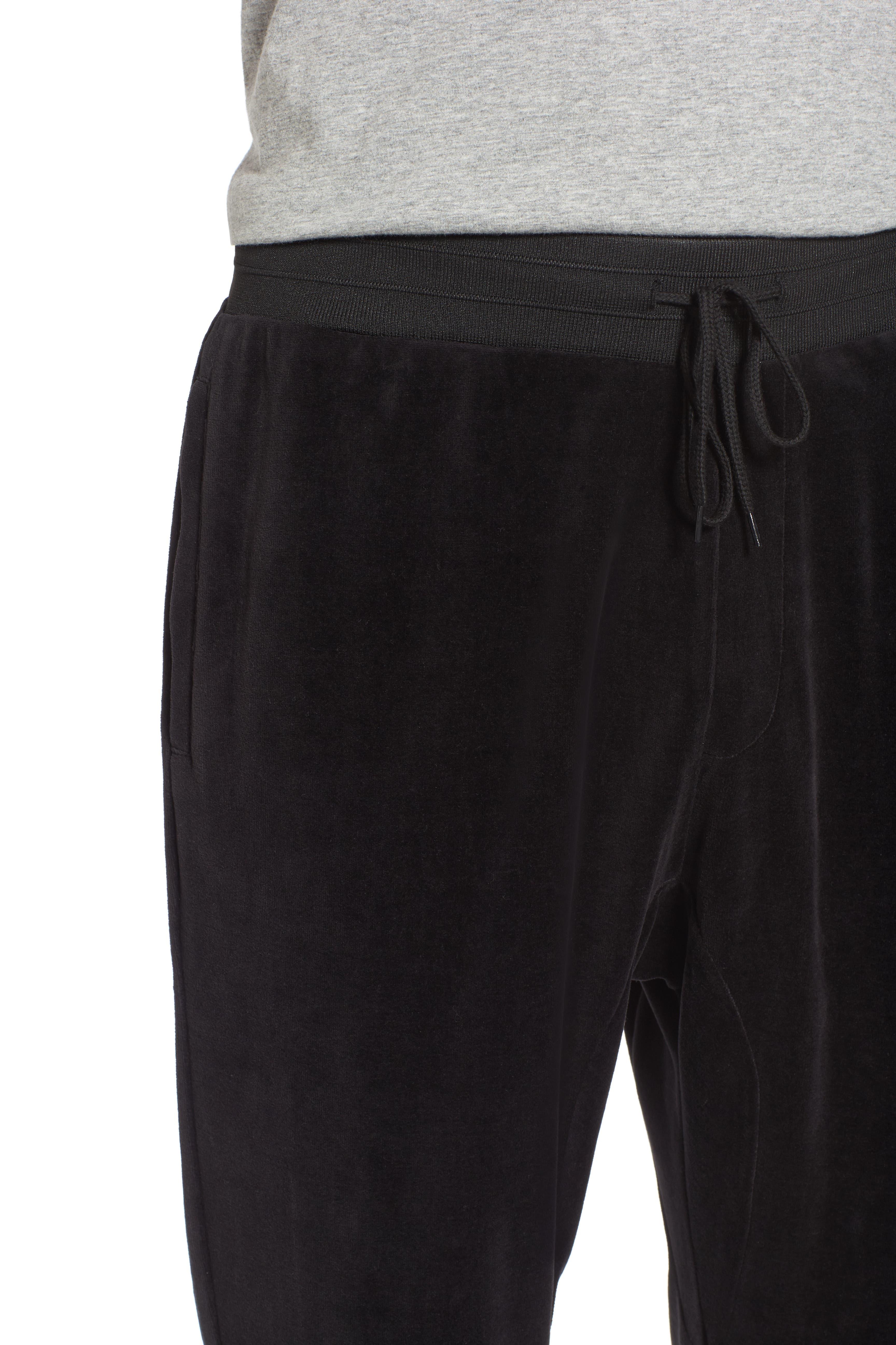 Velour Jogger Pants,                             Alternate thumbnail 4, color,                             Black Rock