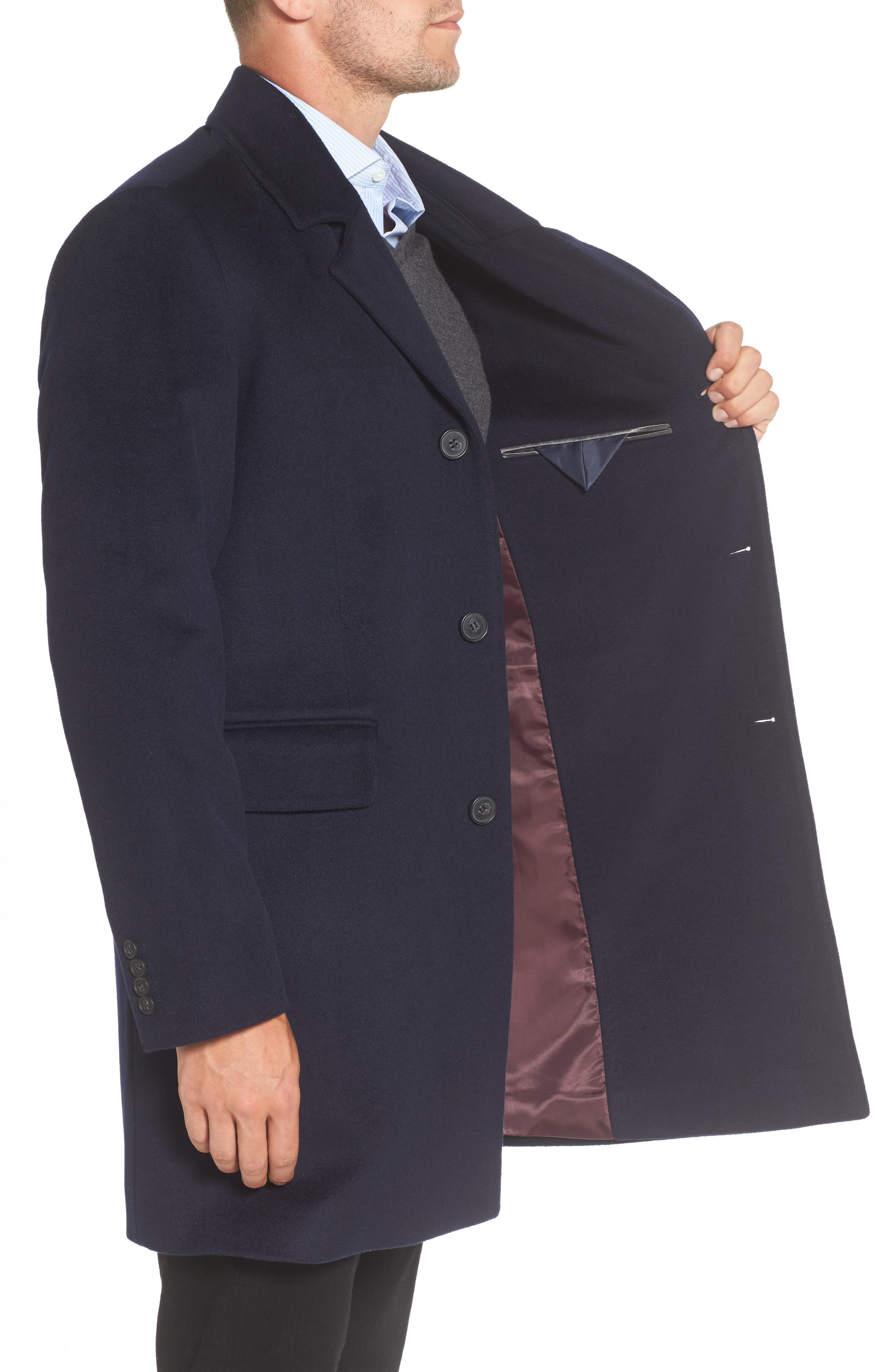 Lambswool Topcoat,                             Alternate thumbnail 3, color,                             Navy