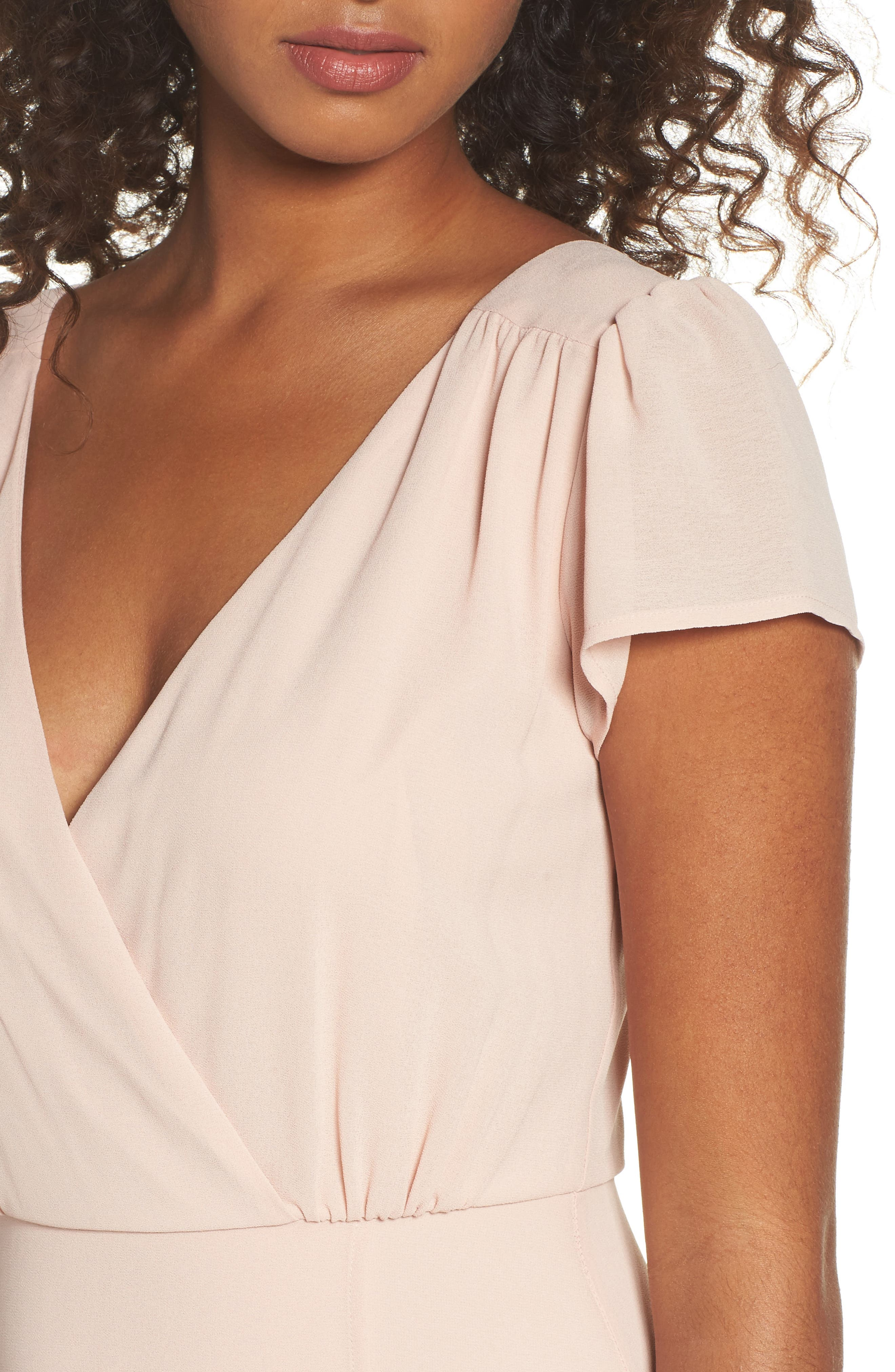 Lace-Up Back Chiffon Gown,                             Alternate thumbnail 5, color,                             Nude Blush