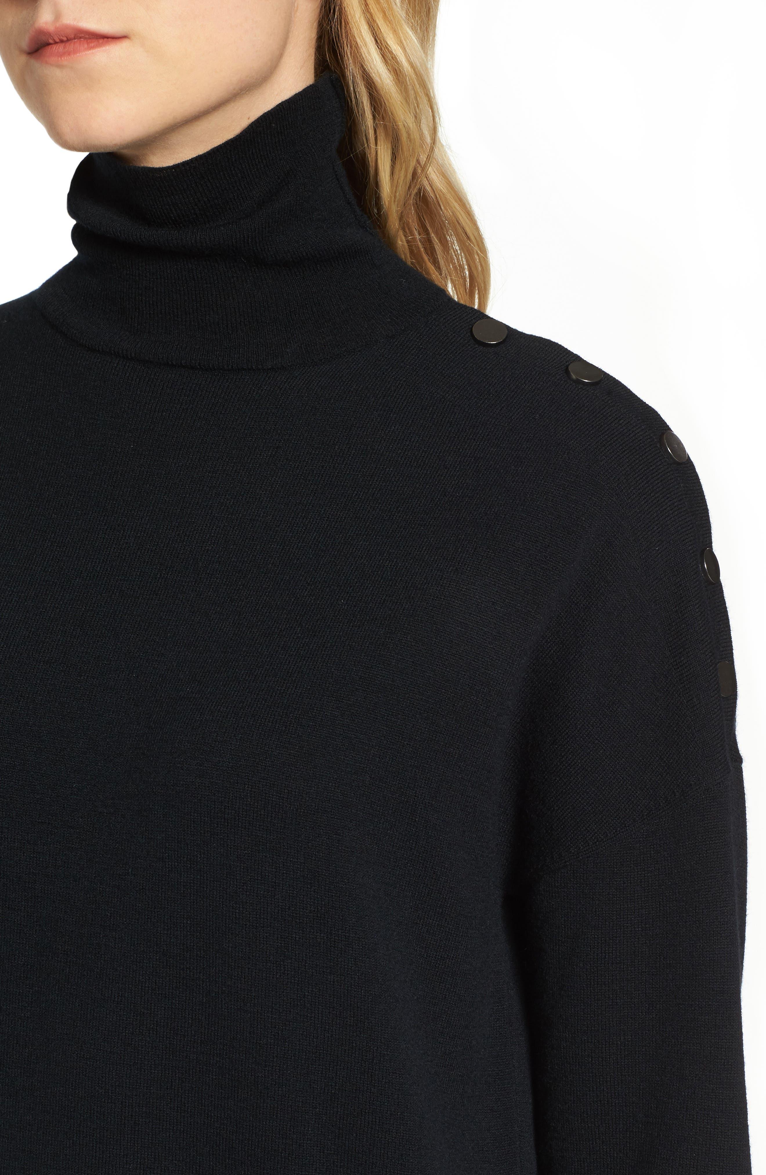 Marissa Sweater Dress,                             Alternate thumbnail 4, color,                             True Black