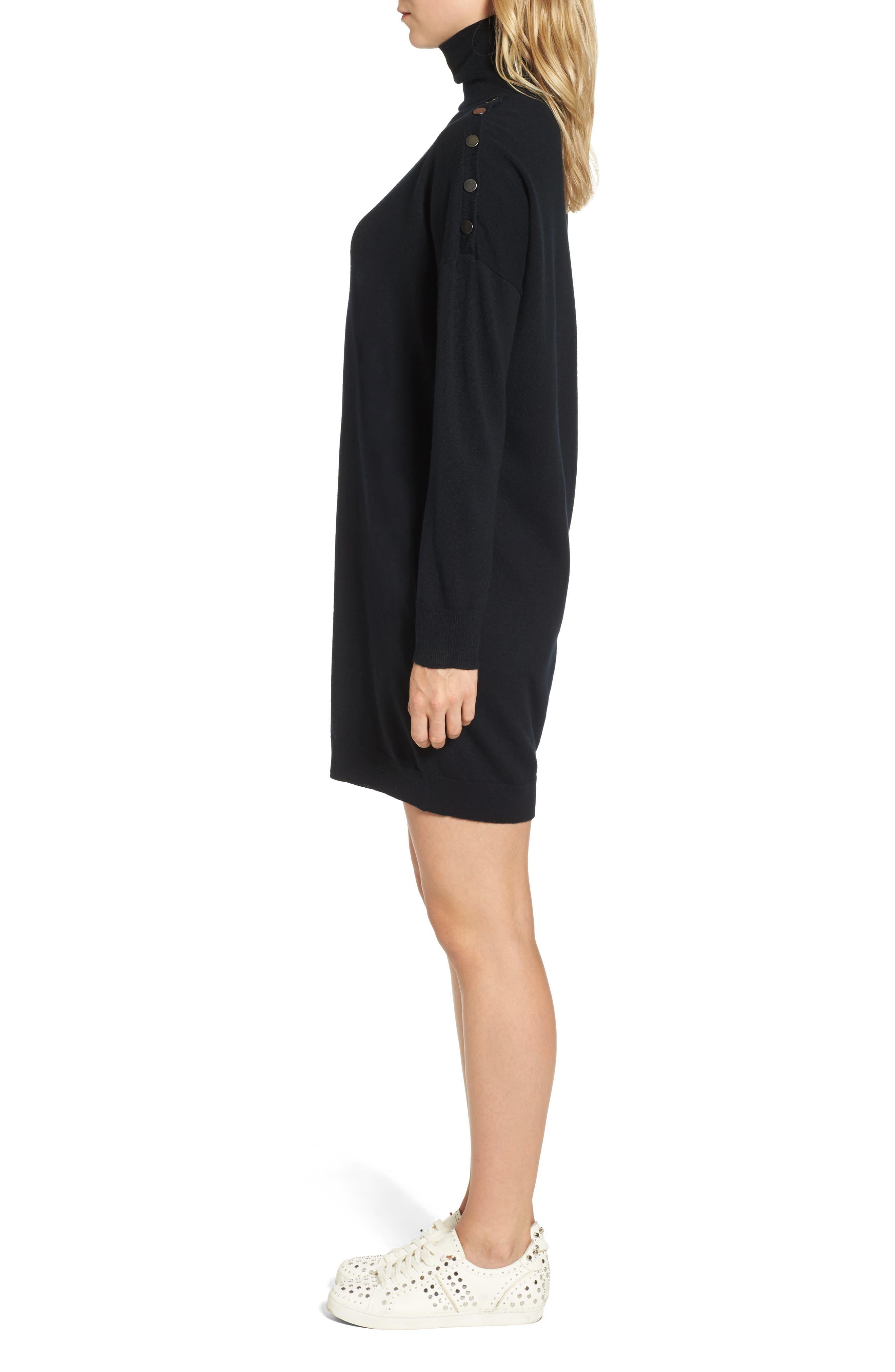 Marissa Sweater Dress,                             Alternate thumbnail 3, color,                             True Black