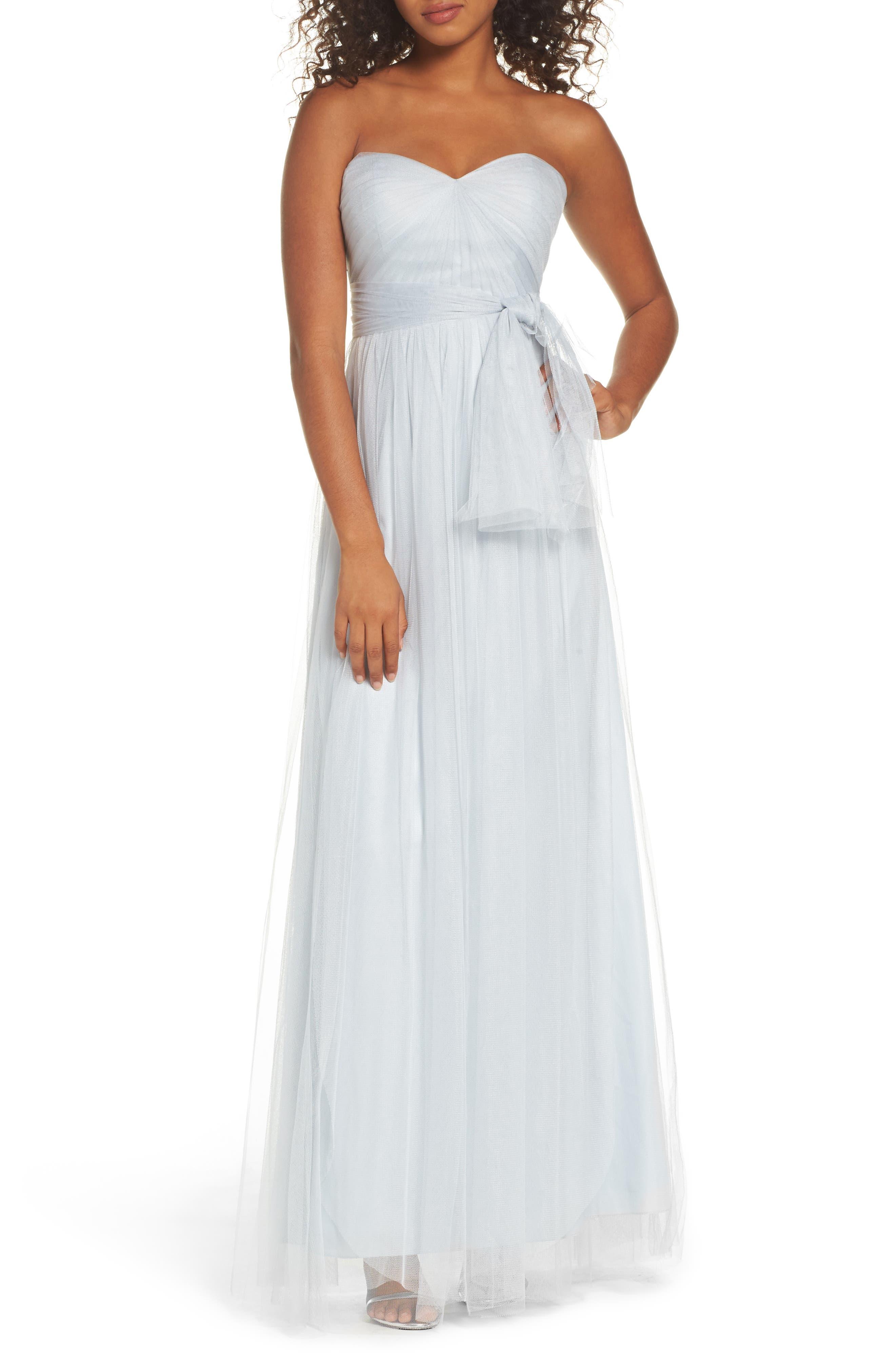 Annabelle Convertible Tulle Column Dress,                             Main thumbnail 1, color,                             Serenity Blue