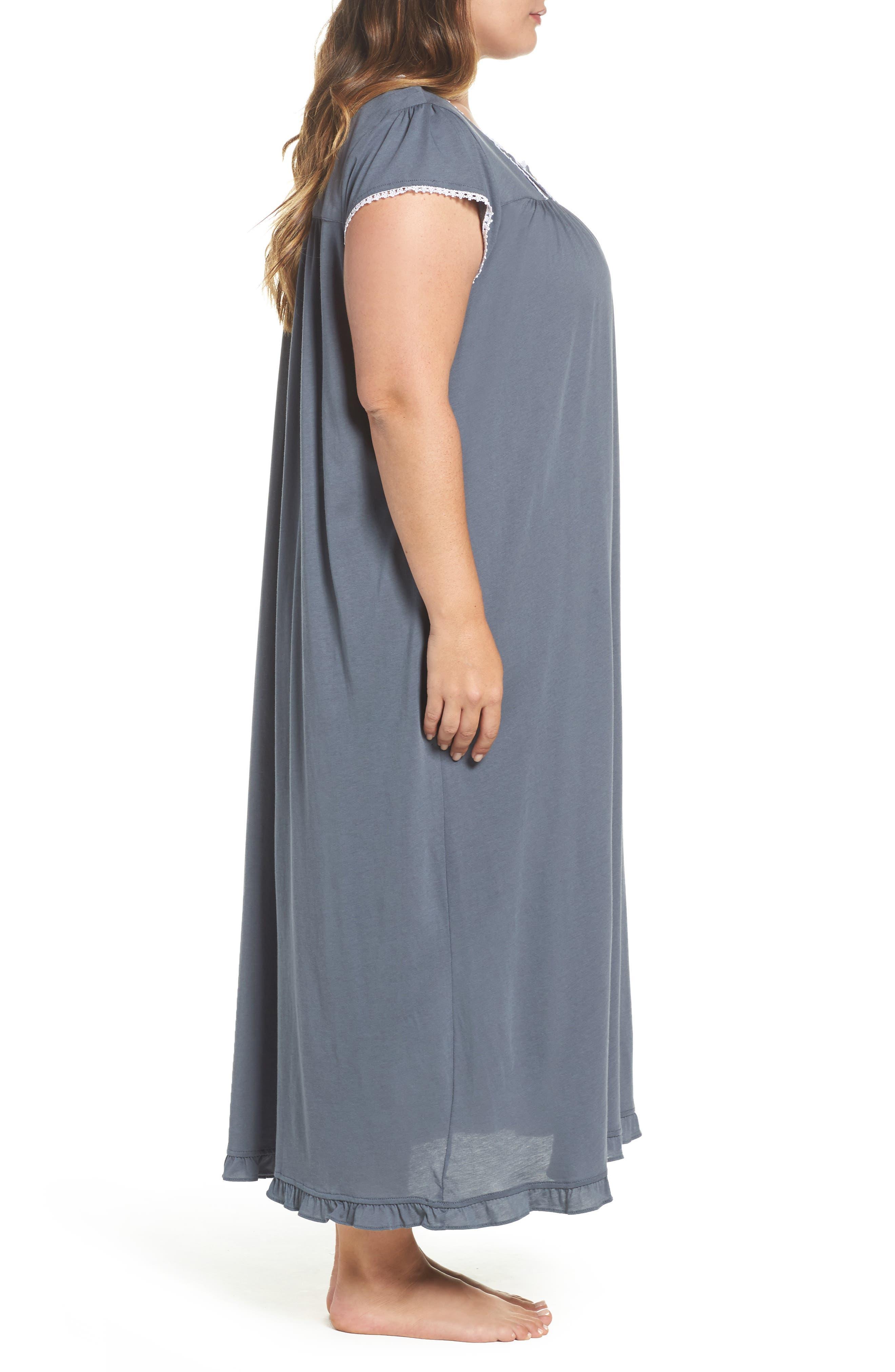 Cotton & Modal Long Nightgown,                             Alternate thumbnail 3, color,                             Grey