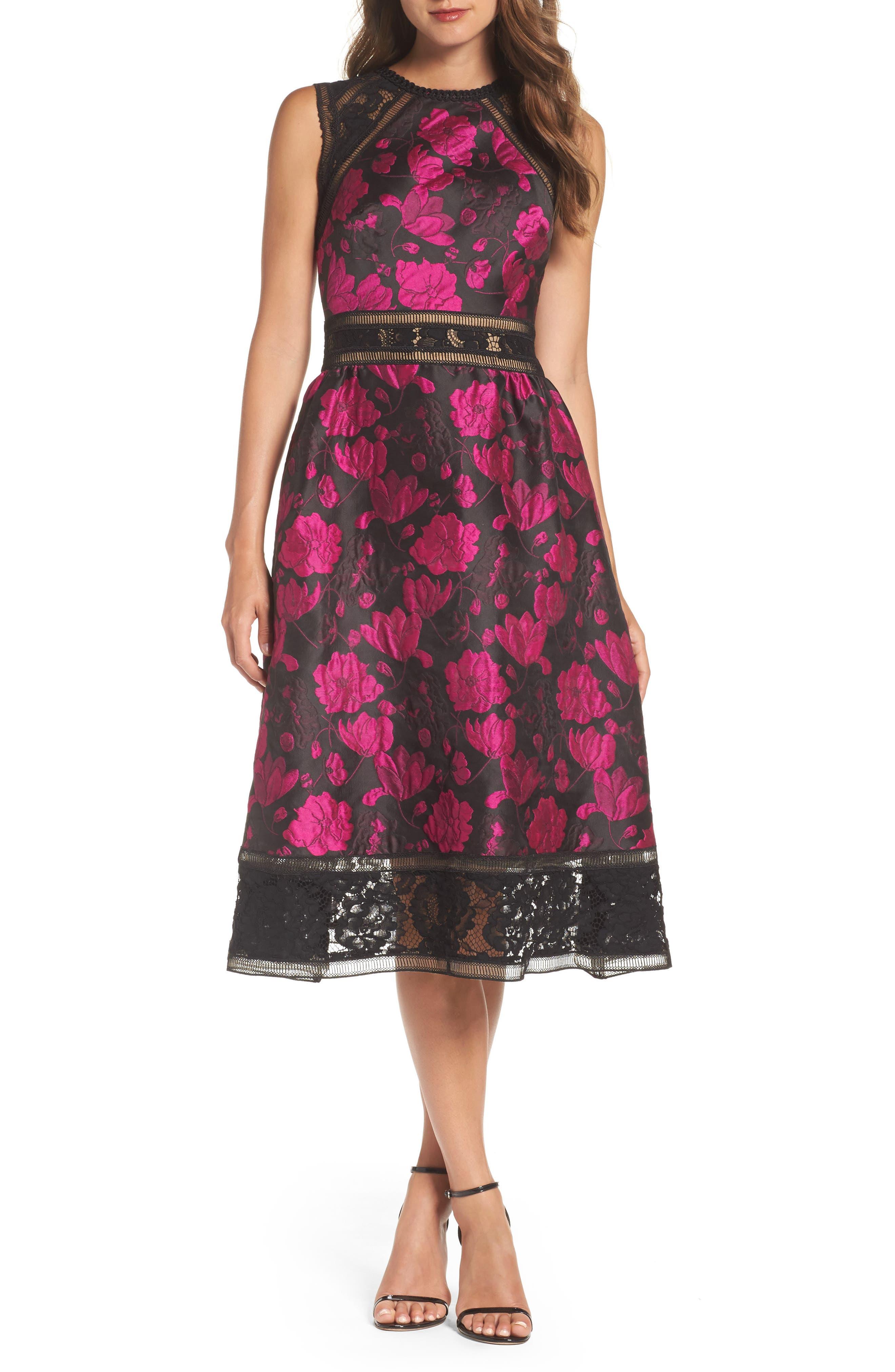 Lace Trim Rose Jacquard Midi Dress,                         Main,                         color, Fuchsia/ Black
