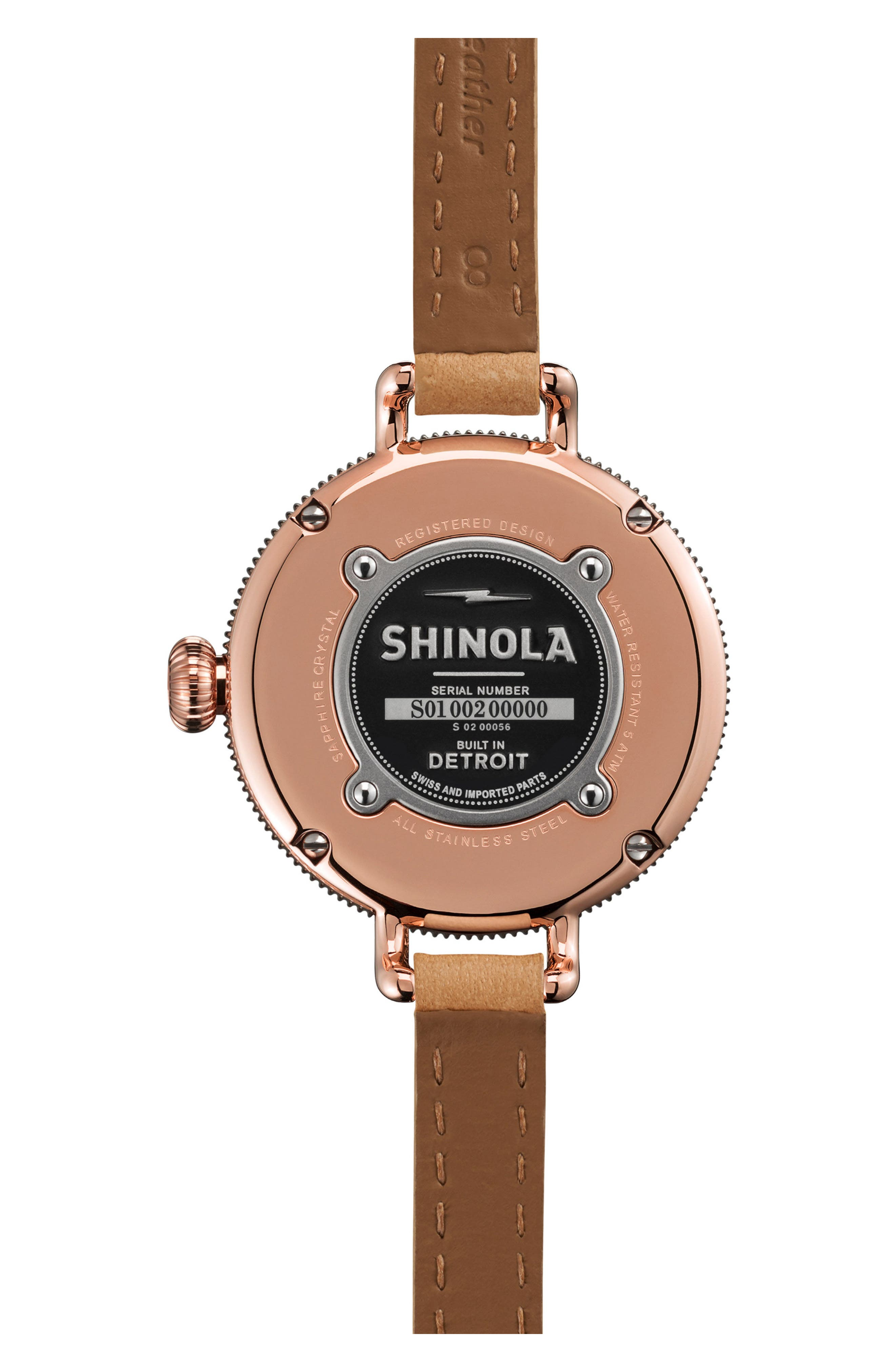 The Birdy Leather Strap Watch, 34mm,                             Alternate thumbnail 2, color,                             Natural/ Silver/ Rose Gold