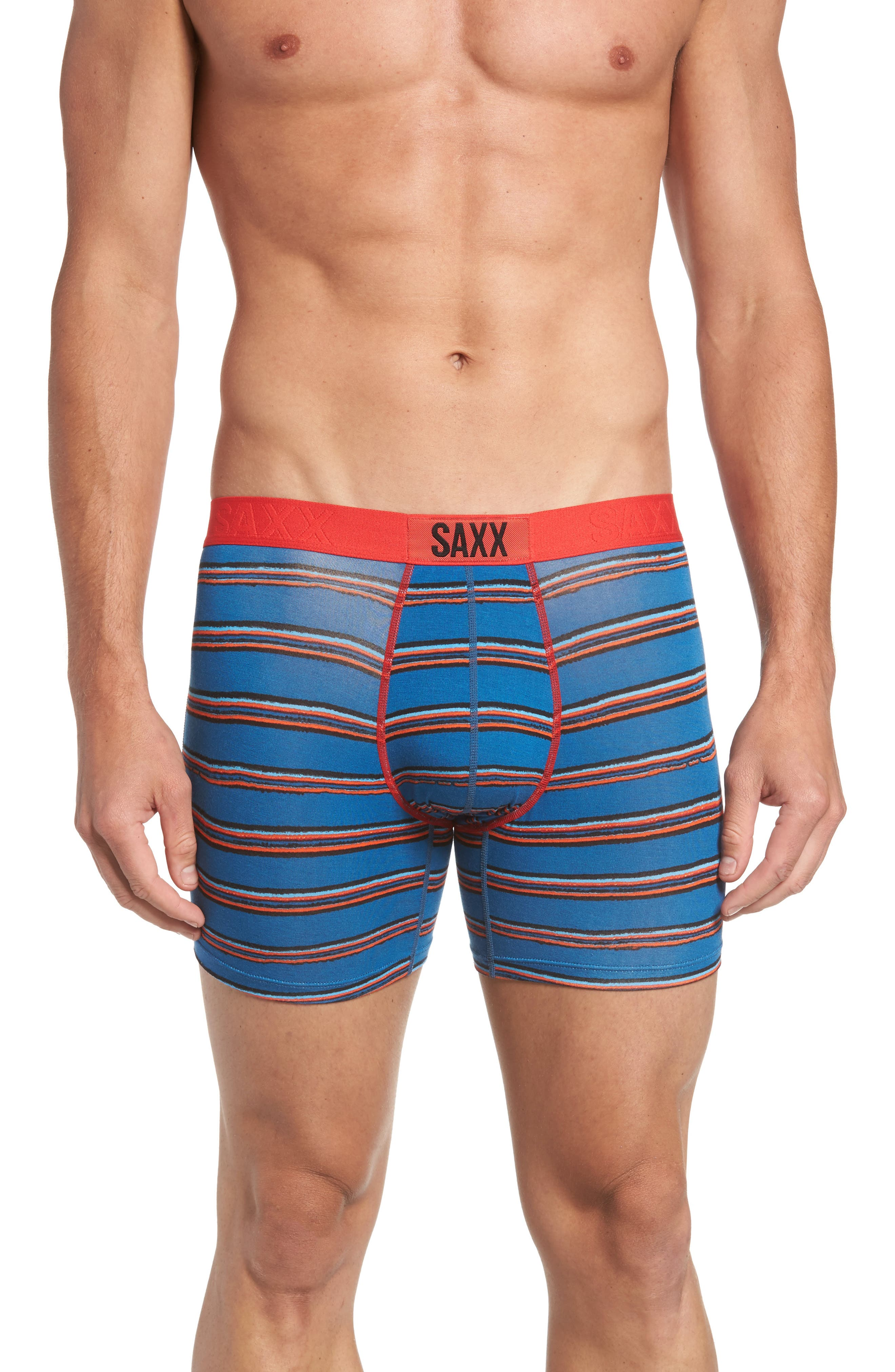 Alternate Image 1 Selected - SAXX Vibe Modern Fit Striped Boxer Briefs