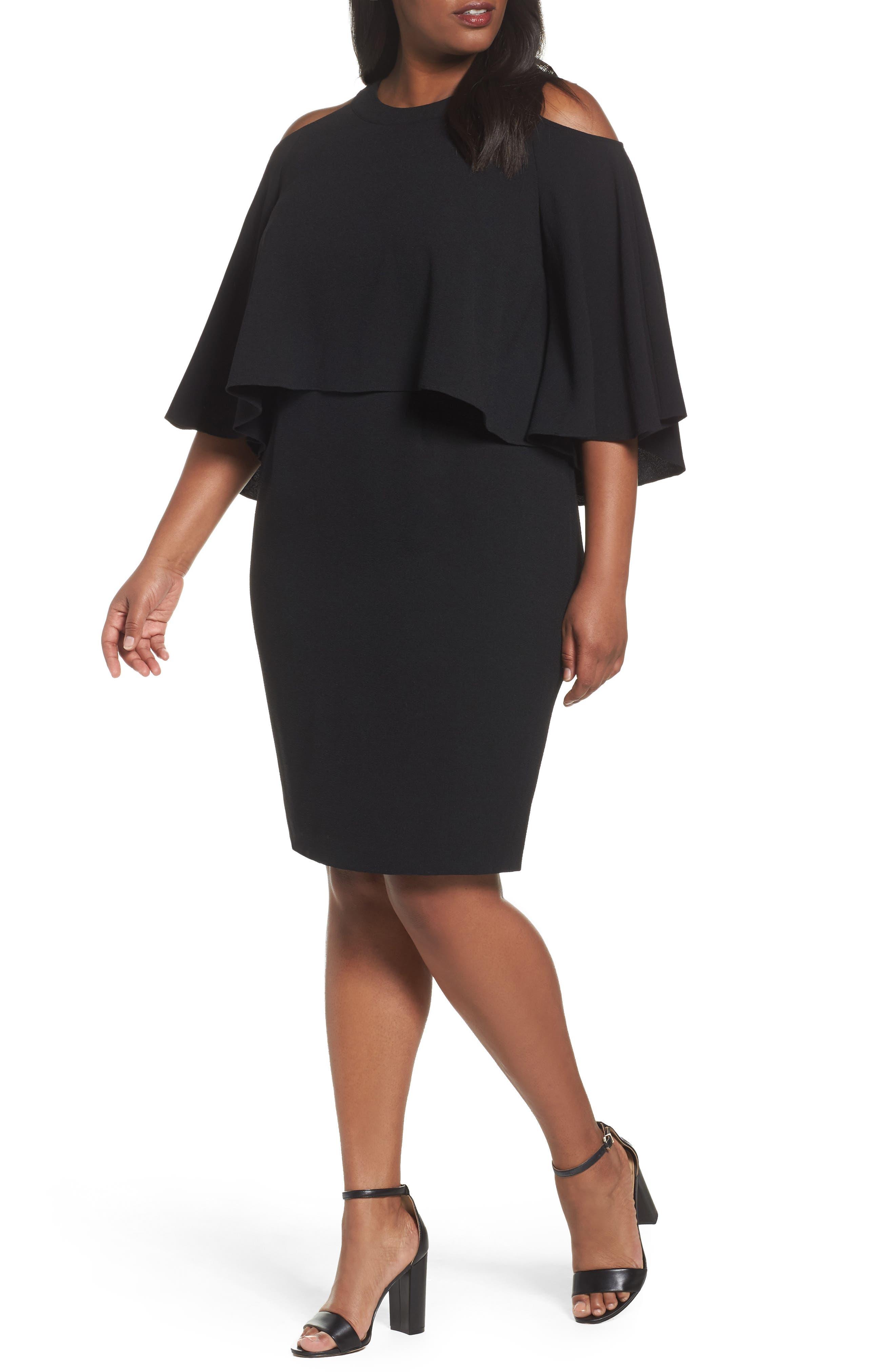 Cold Shoulder Crepe Sheath Dress,                             Main thumbnail 1, color,                             Black