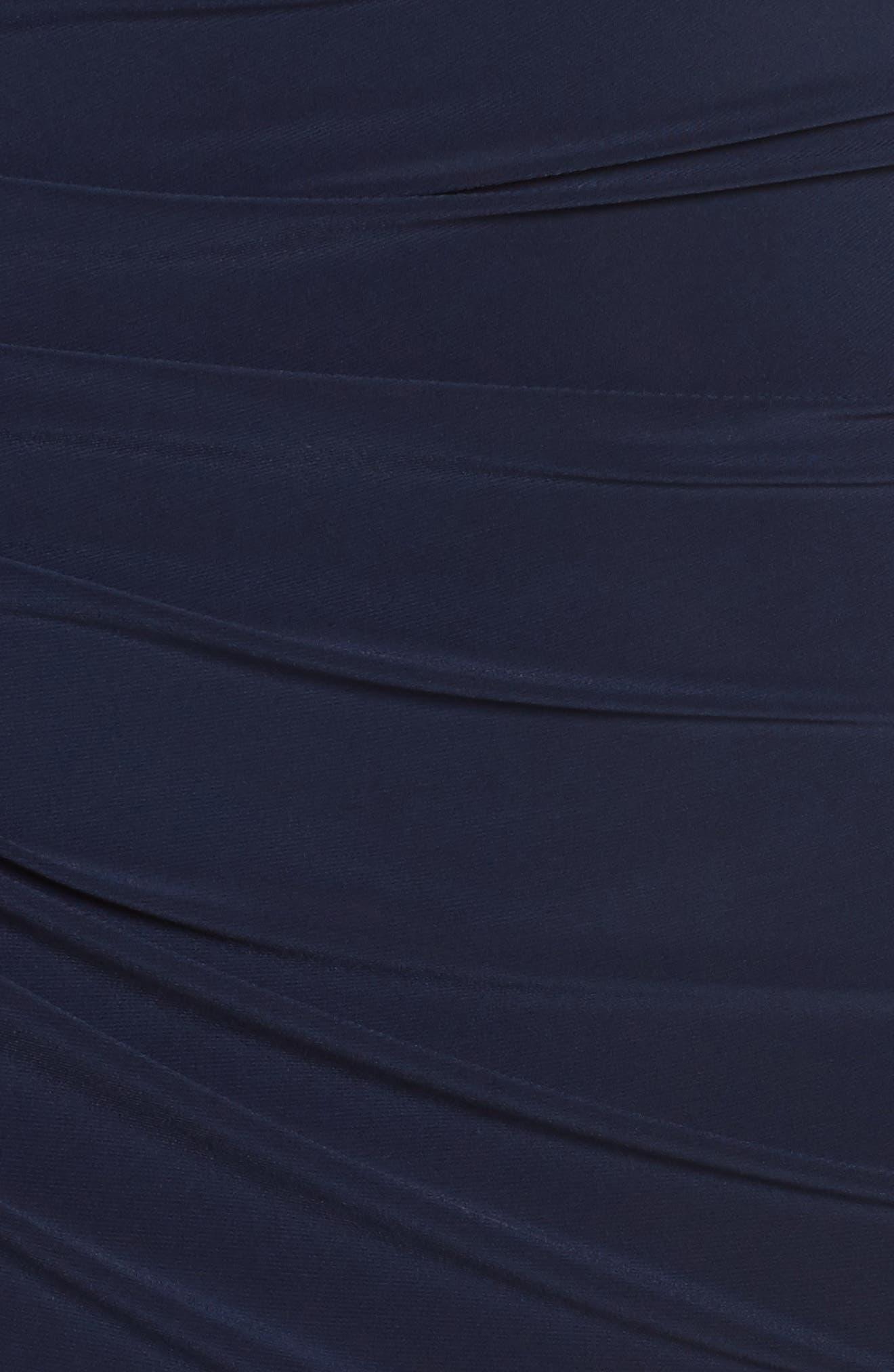 Alternate Image 5  - Xscape Ruched Lace Sleeve Sheath Dress (Plus Size)