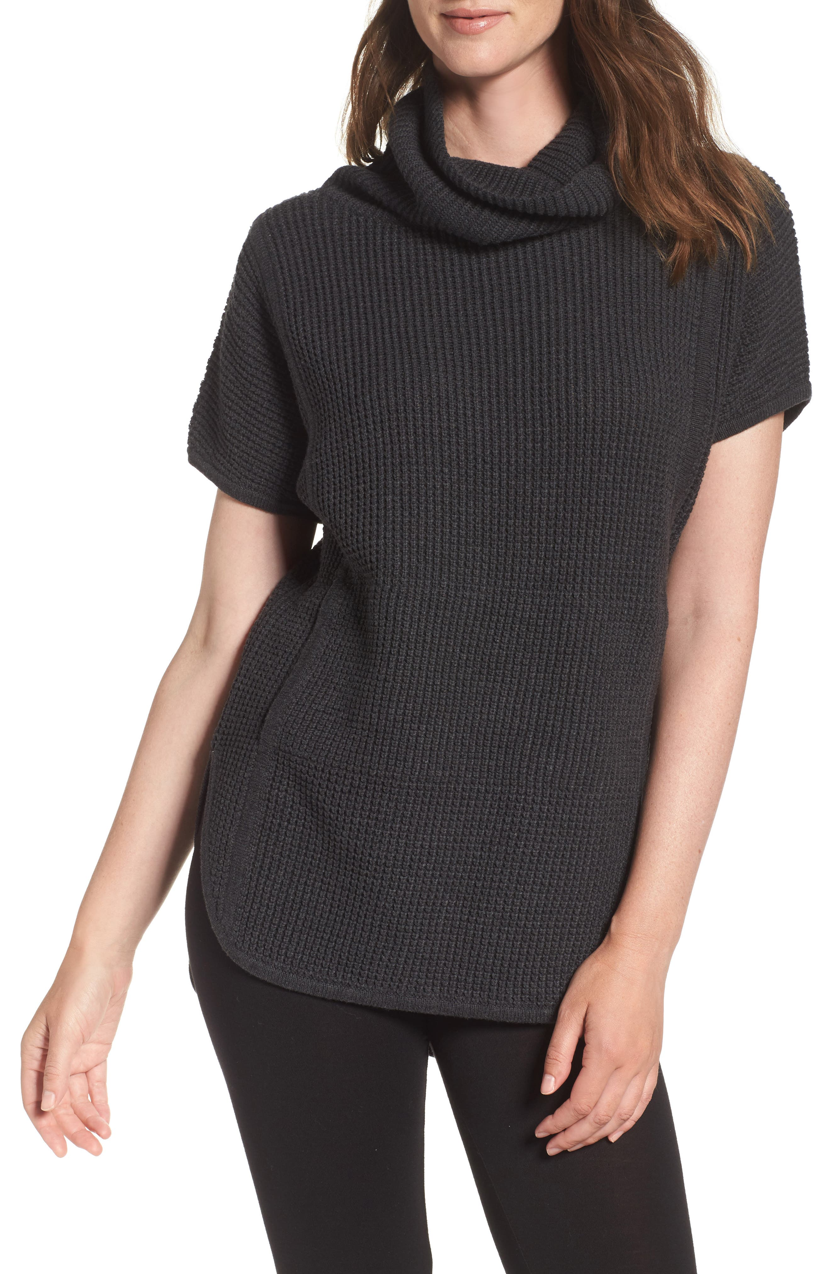 'Selby' Turtleneck Cotton Knit Pullover,                         Main,                         color, Black Bear Heather