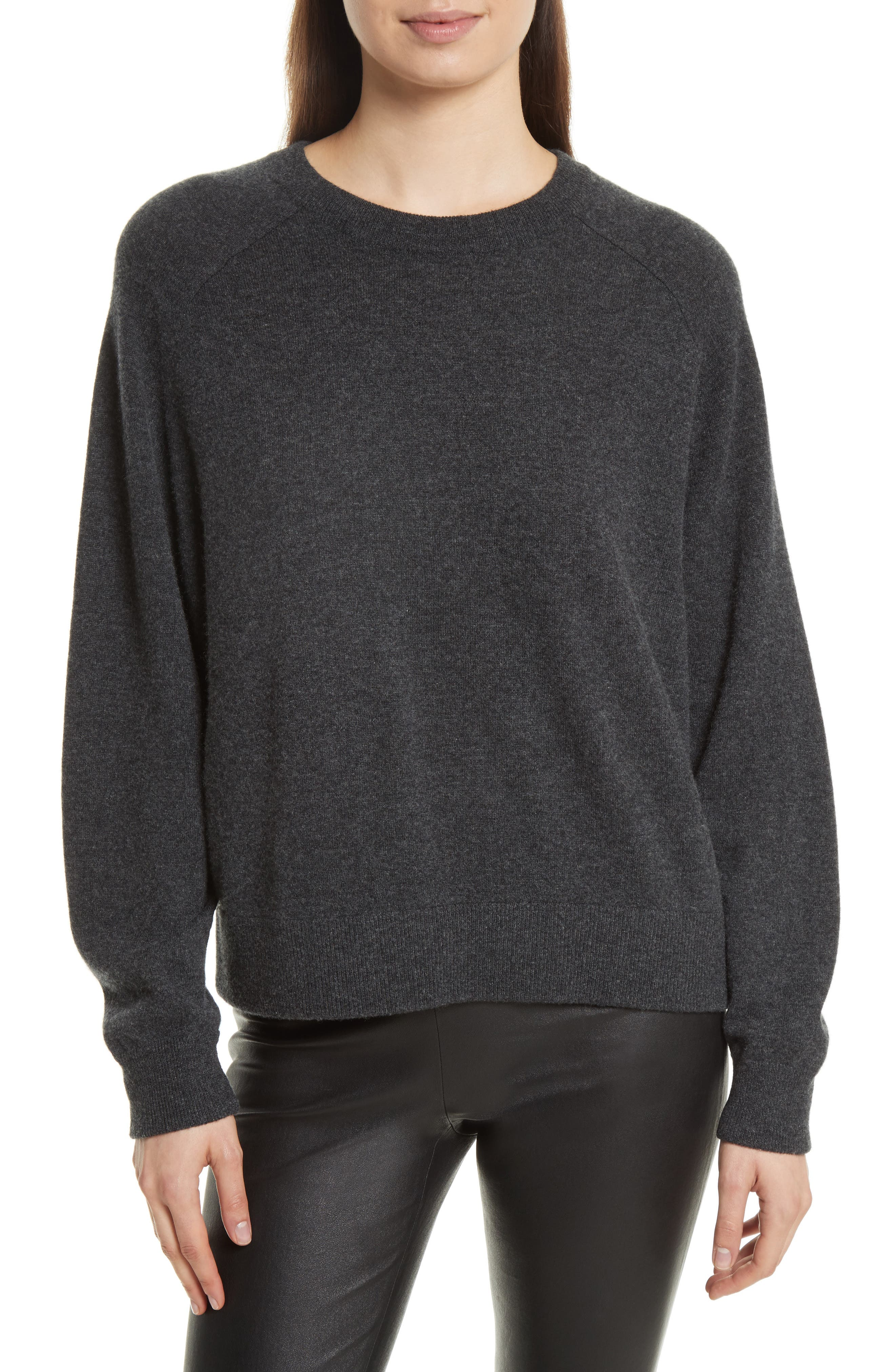 Saddle Sleeve Cashmere Sweater,                             Main thumbnail 1, color,                             Carbon