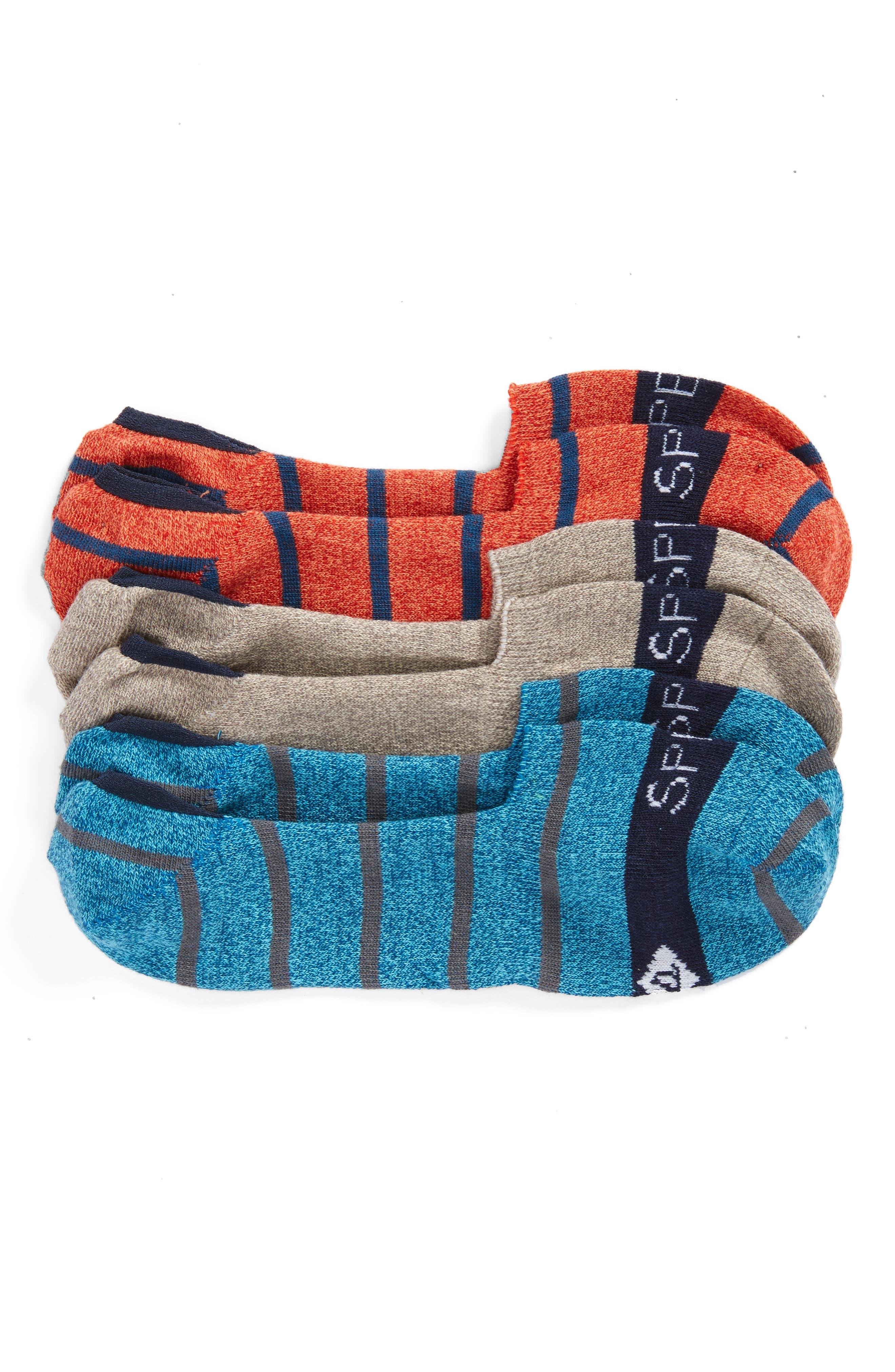 3-Pack Liner Socks,                         Main,                         color, Orange/ Grey/ Blue